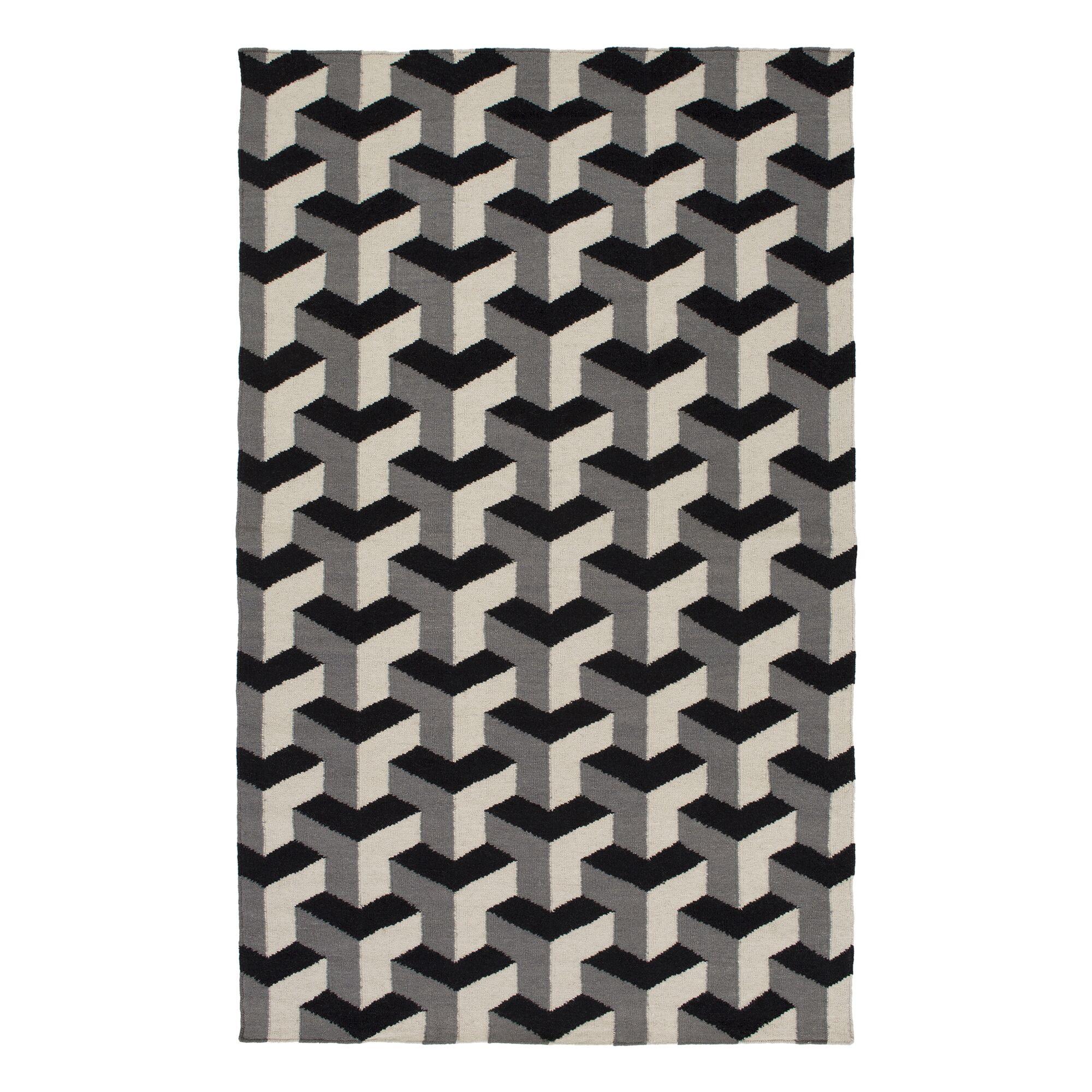 Handmade Black/Gray Area Rug Rug Size: Runner 2'6