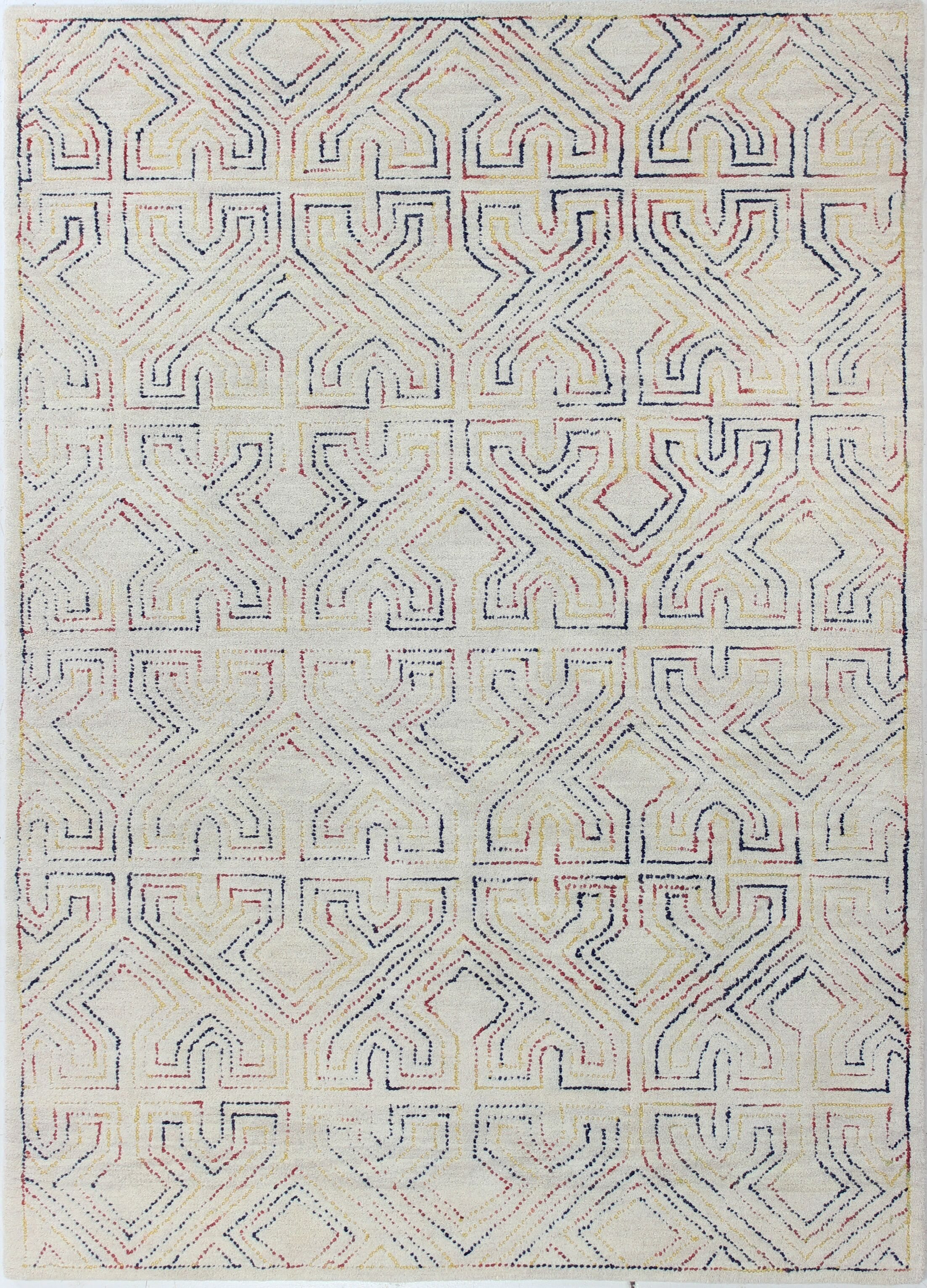 Fort Hamilton Hand-Tufted Ivory Area Rug Rug Size: Rectangle 5' x 7'6