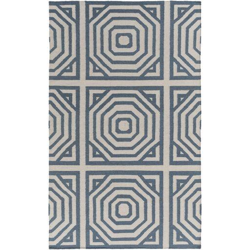 Flatweave Peacock Hand-Woven Gray/Teal Area Rug Rug Size: Rectangle 8' x 10'