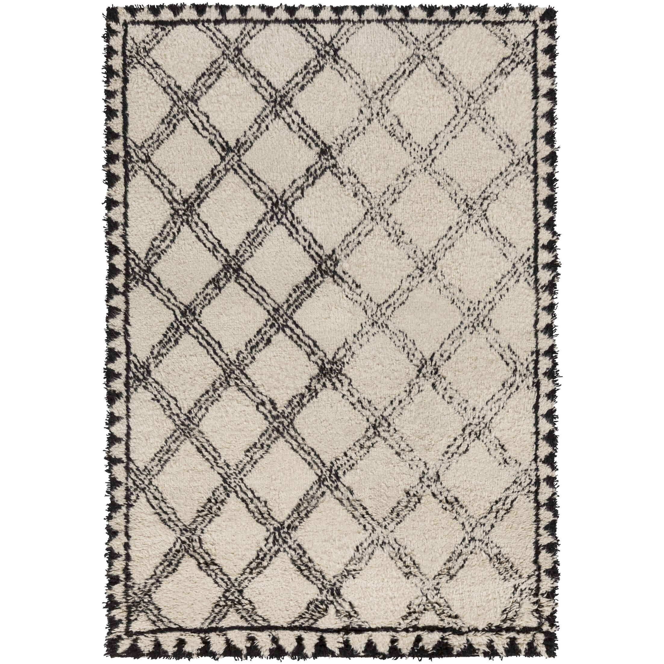 Riad Hand-Knotted Black/Ivory Area Rug Rug Size: Rectangle 6' x 9'