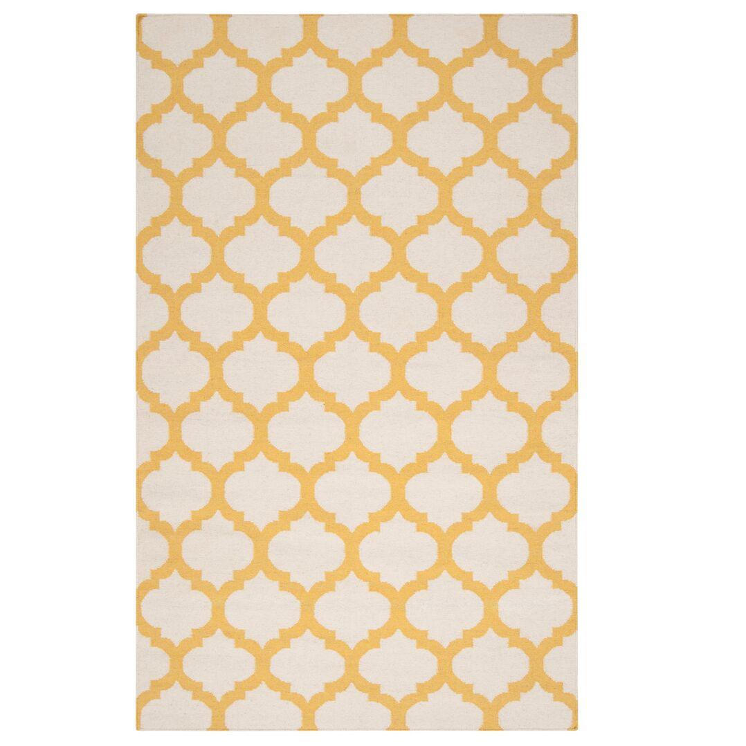 Hand Woven Wool Ivory/Yellow Area Rug Rug Size: Rectangle 3'6