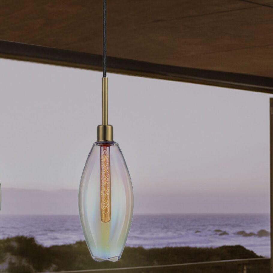 Lillia 1-Light Cone Pendant Finish: Retro Brass, Shade Color: Light Dichroic