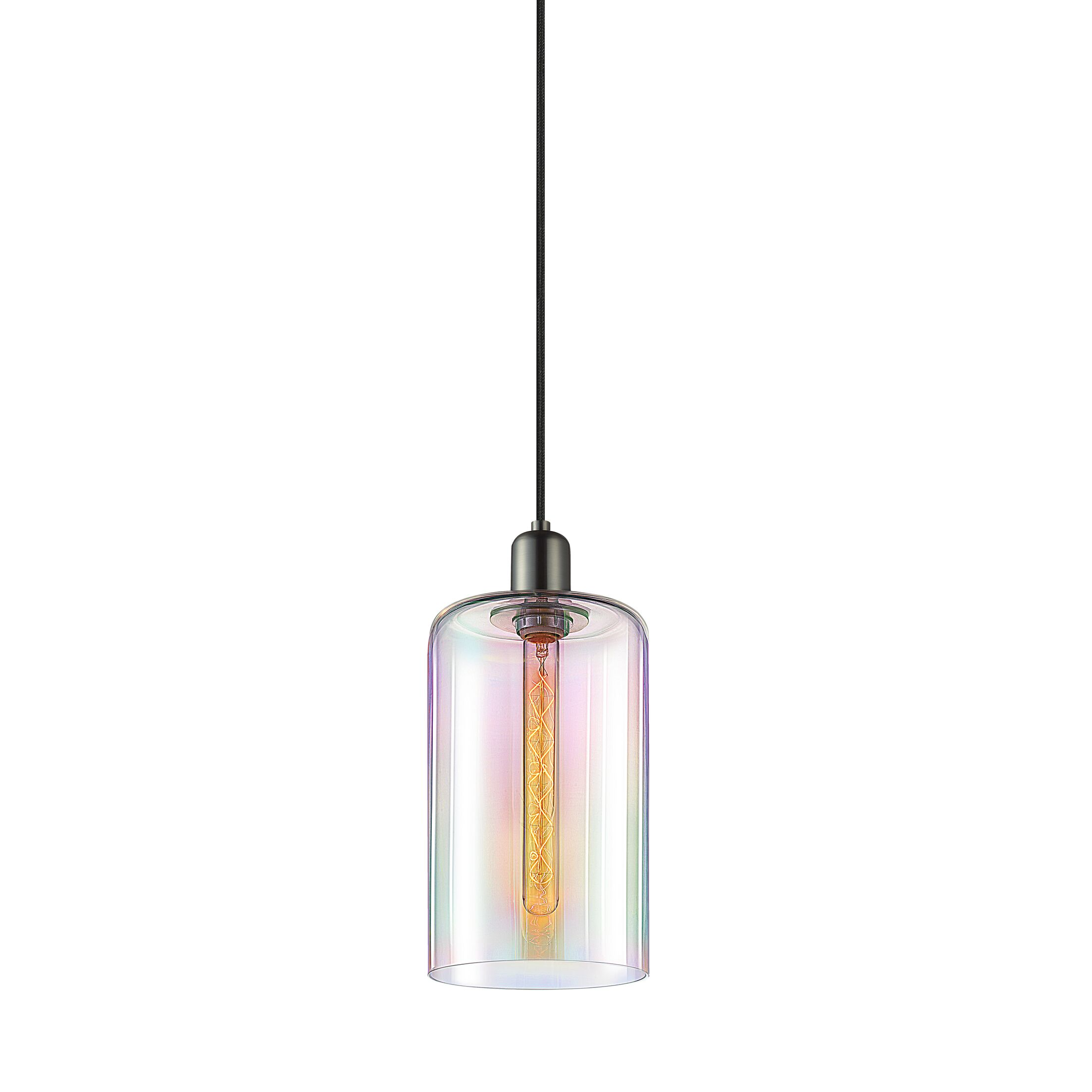 Cloche 1-Light Cylinder Pendant Finish: Retro Brass, Shade Color: Light Dichroic, Size: 14.75