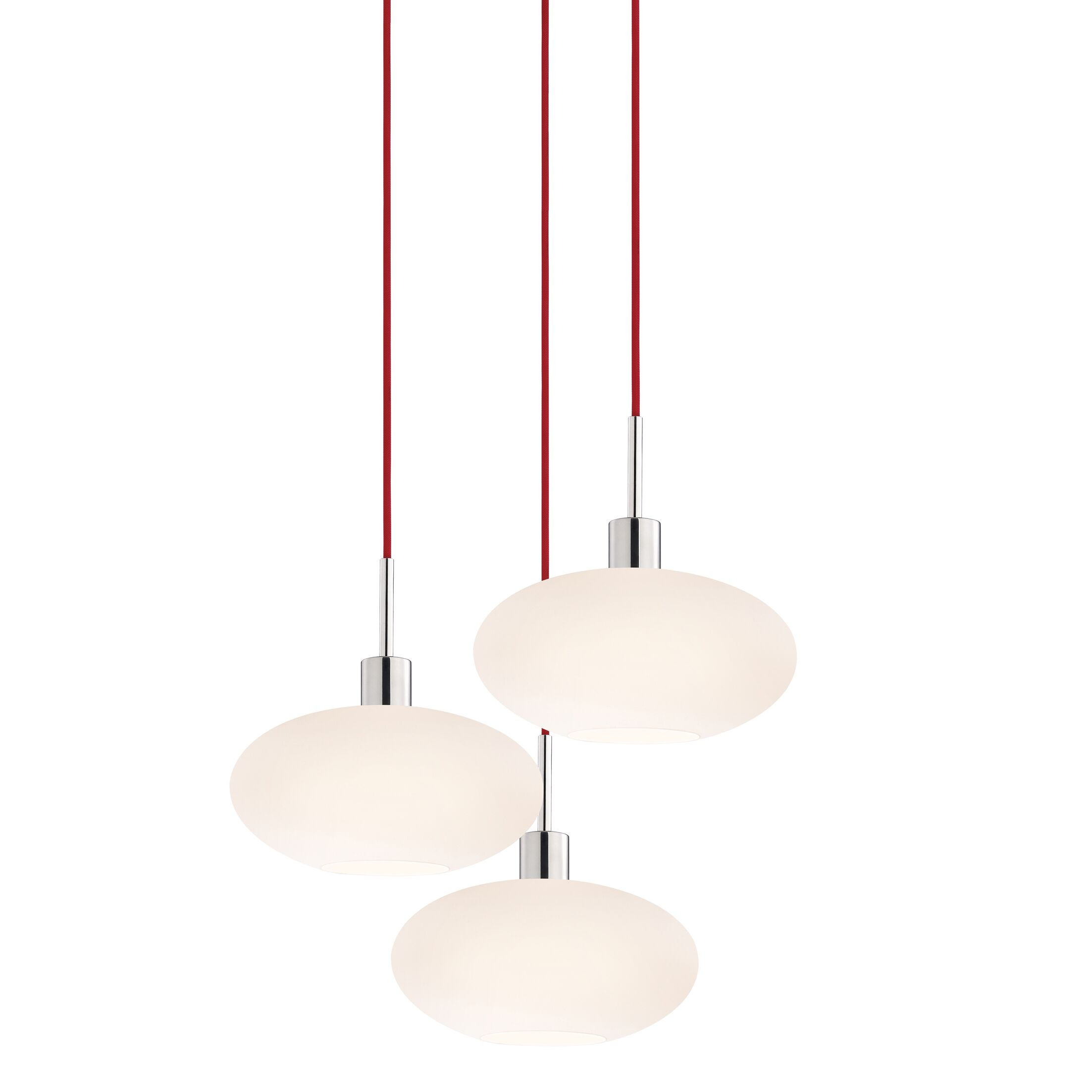3-Light Pendant Cord Color: Red