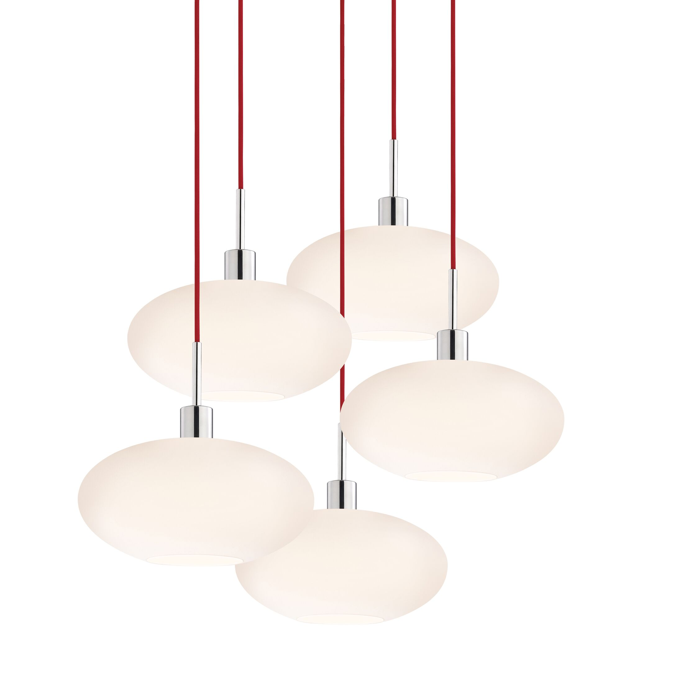 5-Light Pendant Cord Color: Red