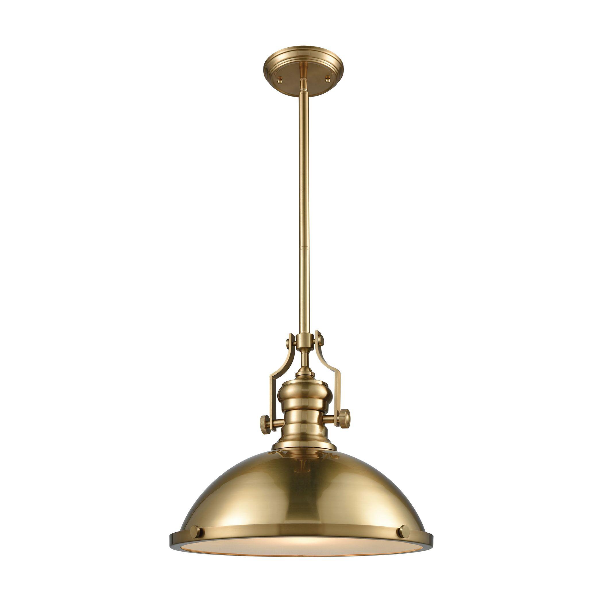 Susan 1-Light Dome Pendant Finish: Satin Brass, Size: 14