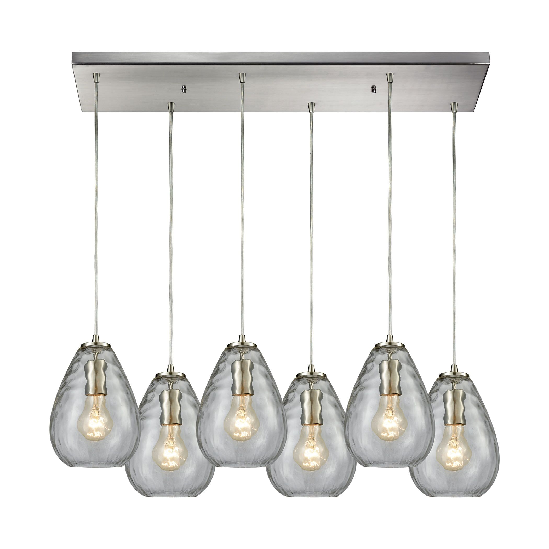 Bradsher Rectangle 6-Light Kitchen Island Pendant Finish: Satin Nickel/Clear