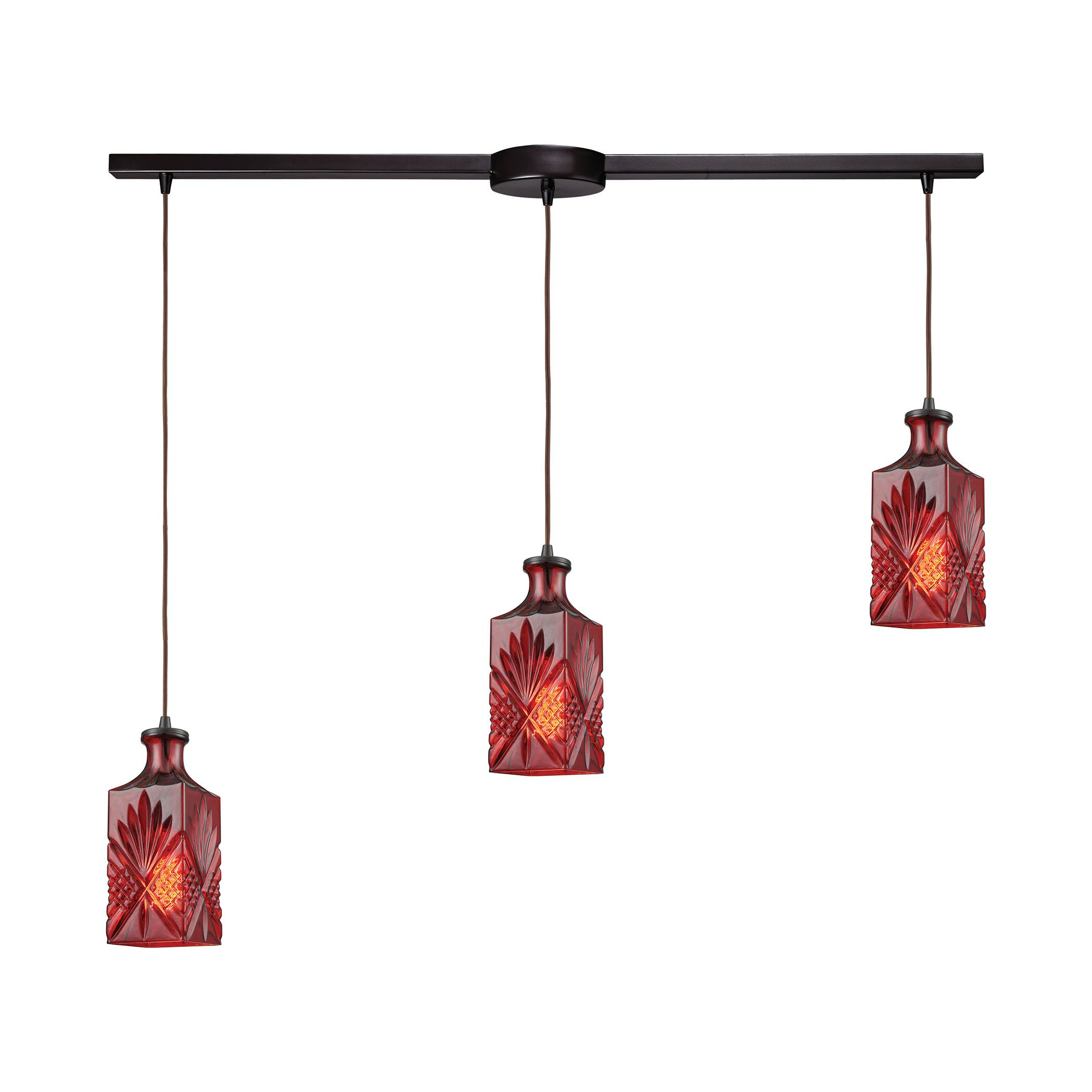 Bedingfield Linear Bar 3-Light Cluster Pendant Shade Color: Wine Red