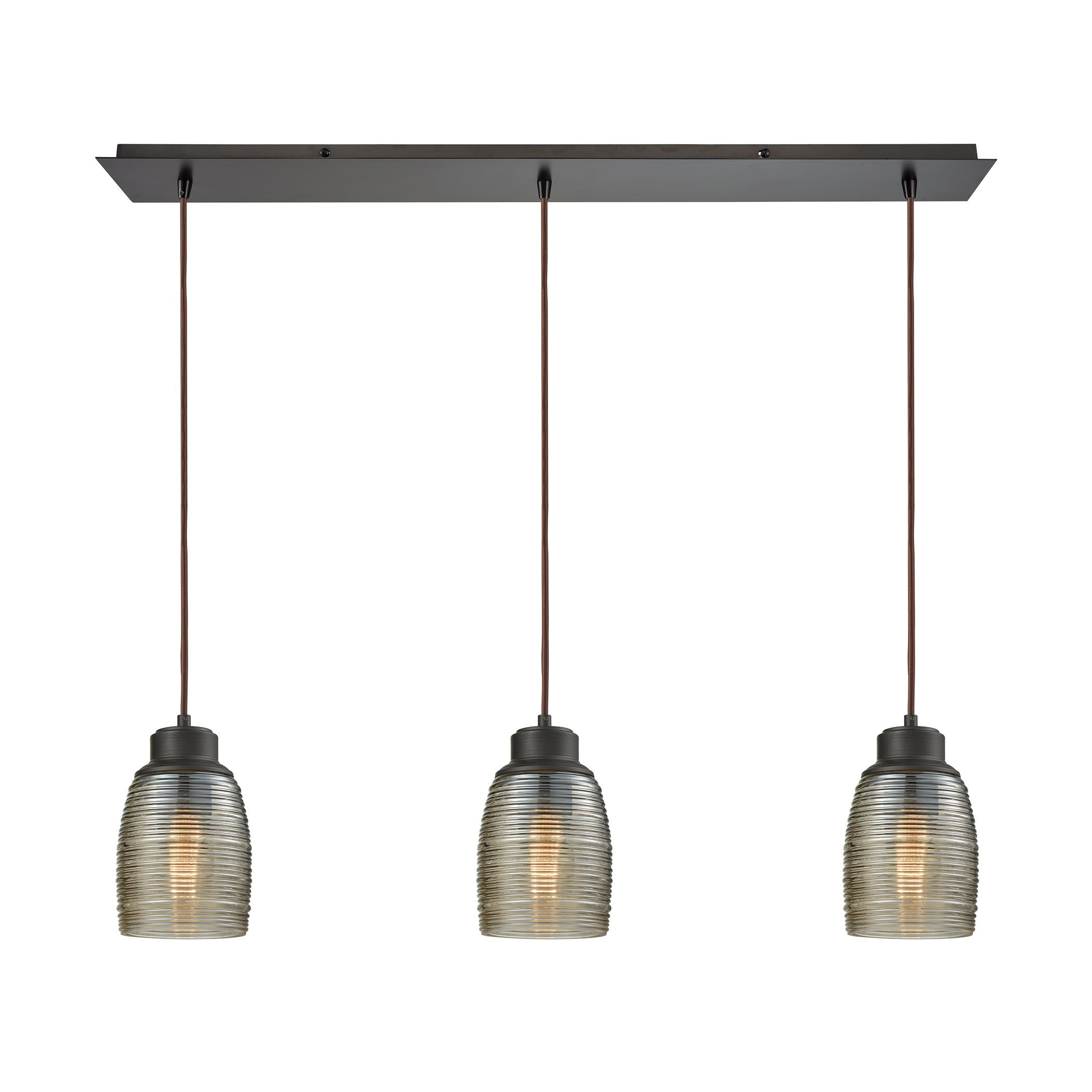 Snyder Linear Pan 3-Light Kitchen Island Pendant Finish: Oil Rubbed Bronze/Champagne Plated