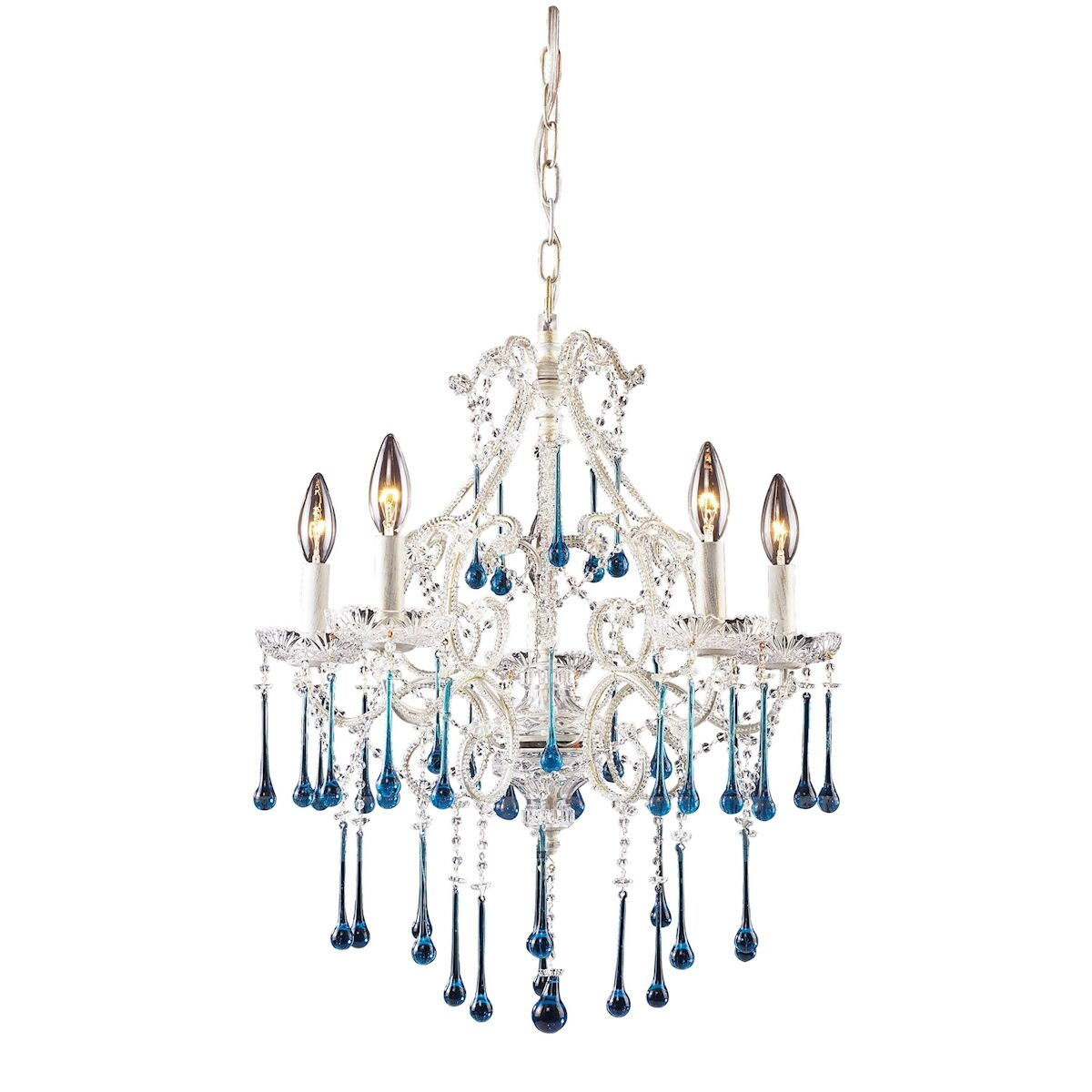 Driffield Traditional 5-Light Candle Style Chandelier Finish: Antique White, Crystal Color: Amber