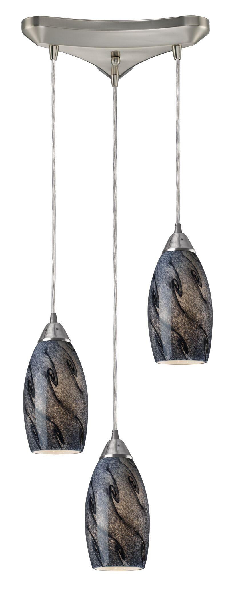 Panek 3-Light Pendant Glass Shade: Smoke and Satin Nickel