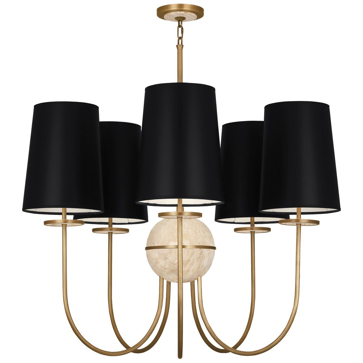 Fineas 5-Light Shaded Chandelier Finish: Aged Brass/Travertine Stone, Shade Color: Black Opaque
