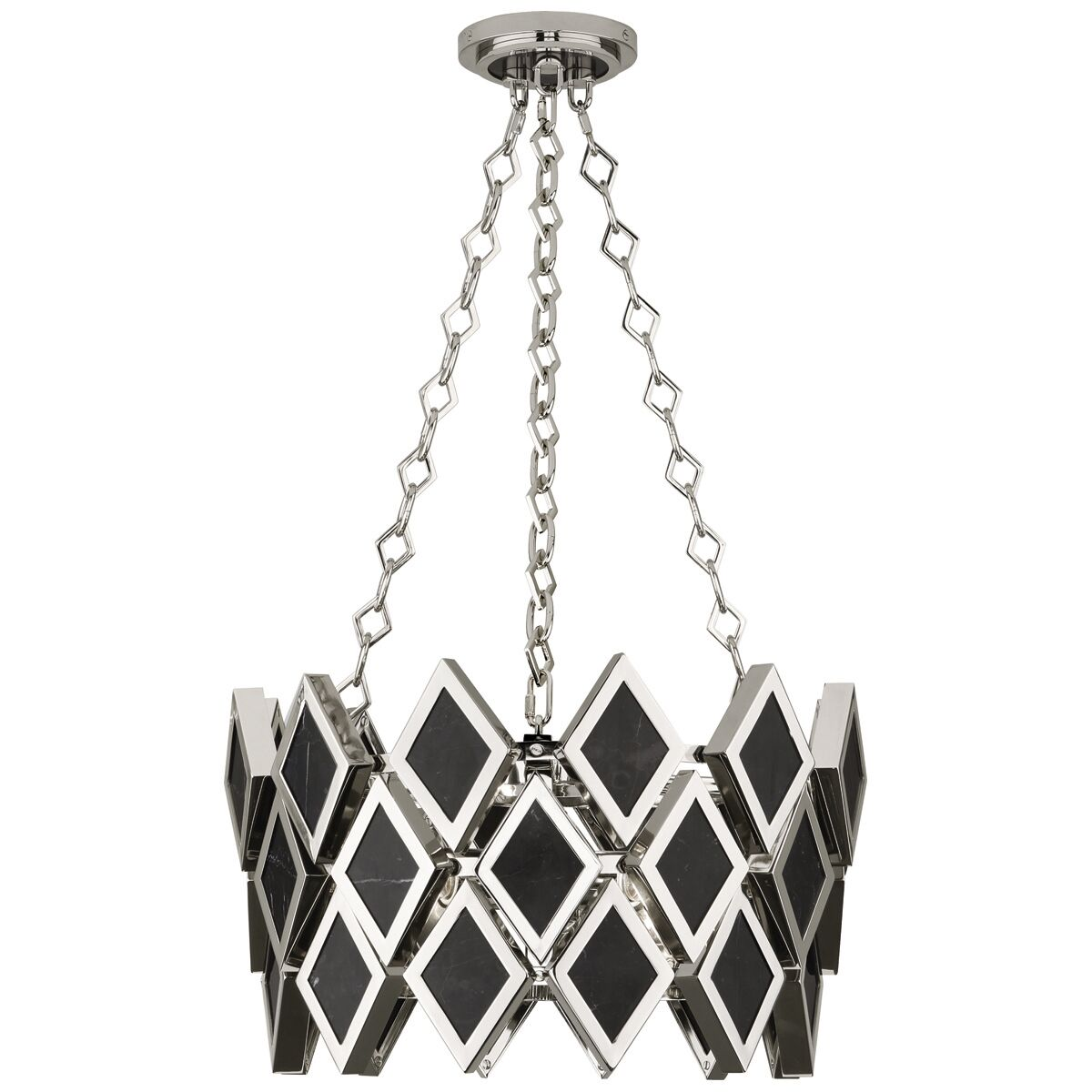 Edward 3-Light Geometric Pendant Finish: Polished Nickel/Black Marble