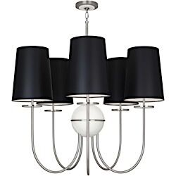 Fineas 5-Light Shaded Chandelier Shade Color: Black Opaque