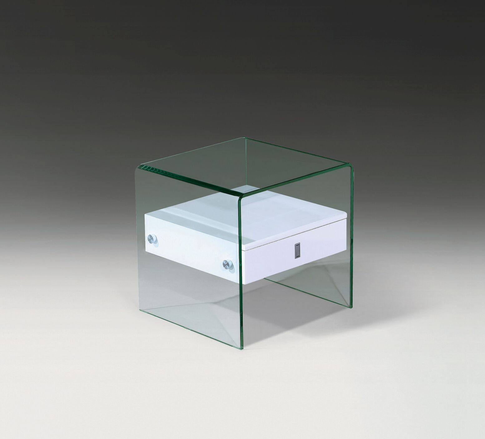 Bent End Table Color: White