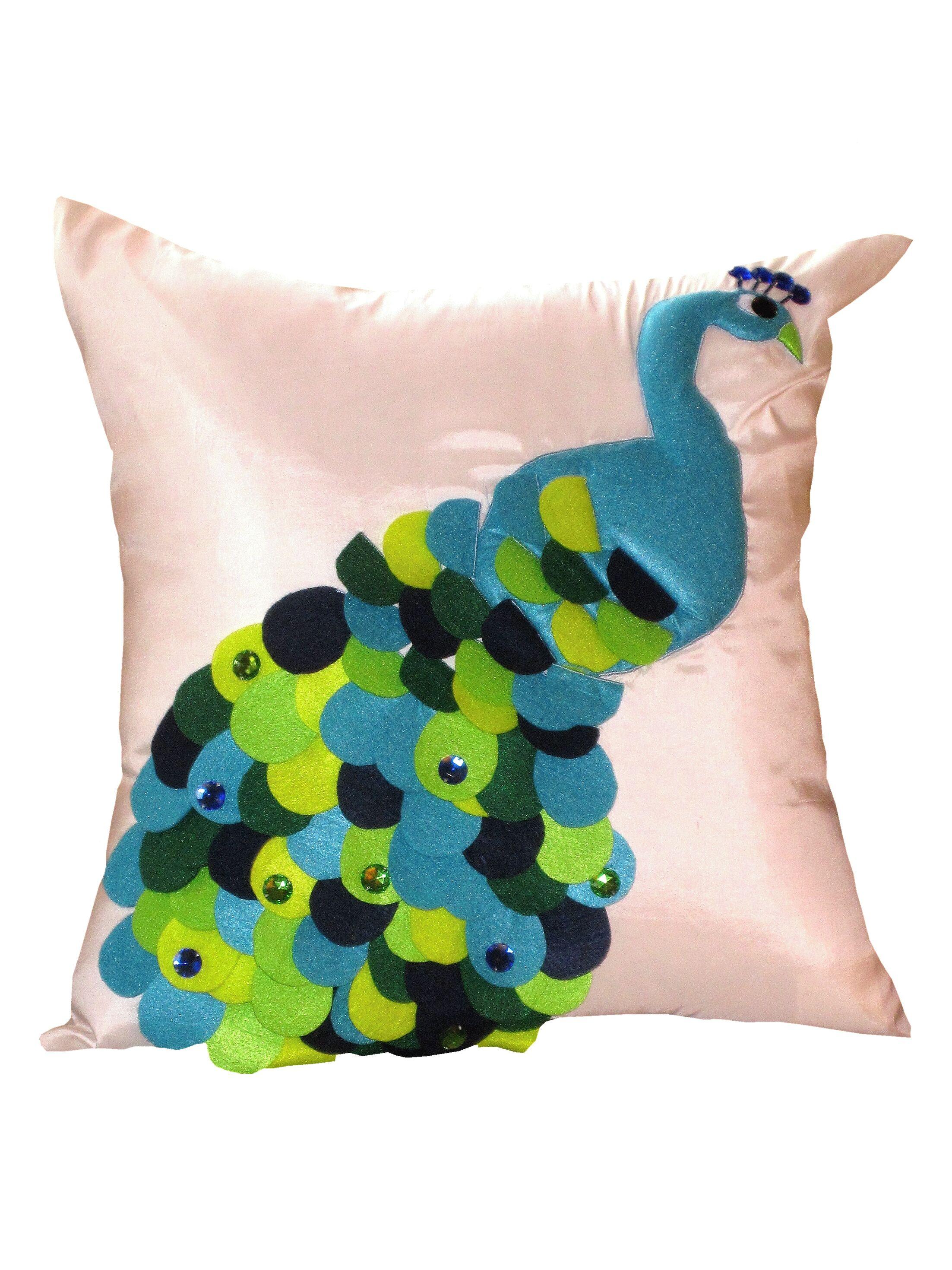 Felt Peacock Throw Pillow