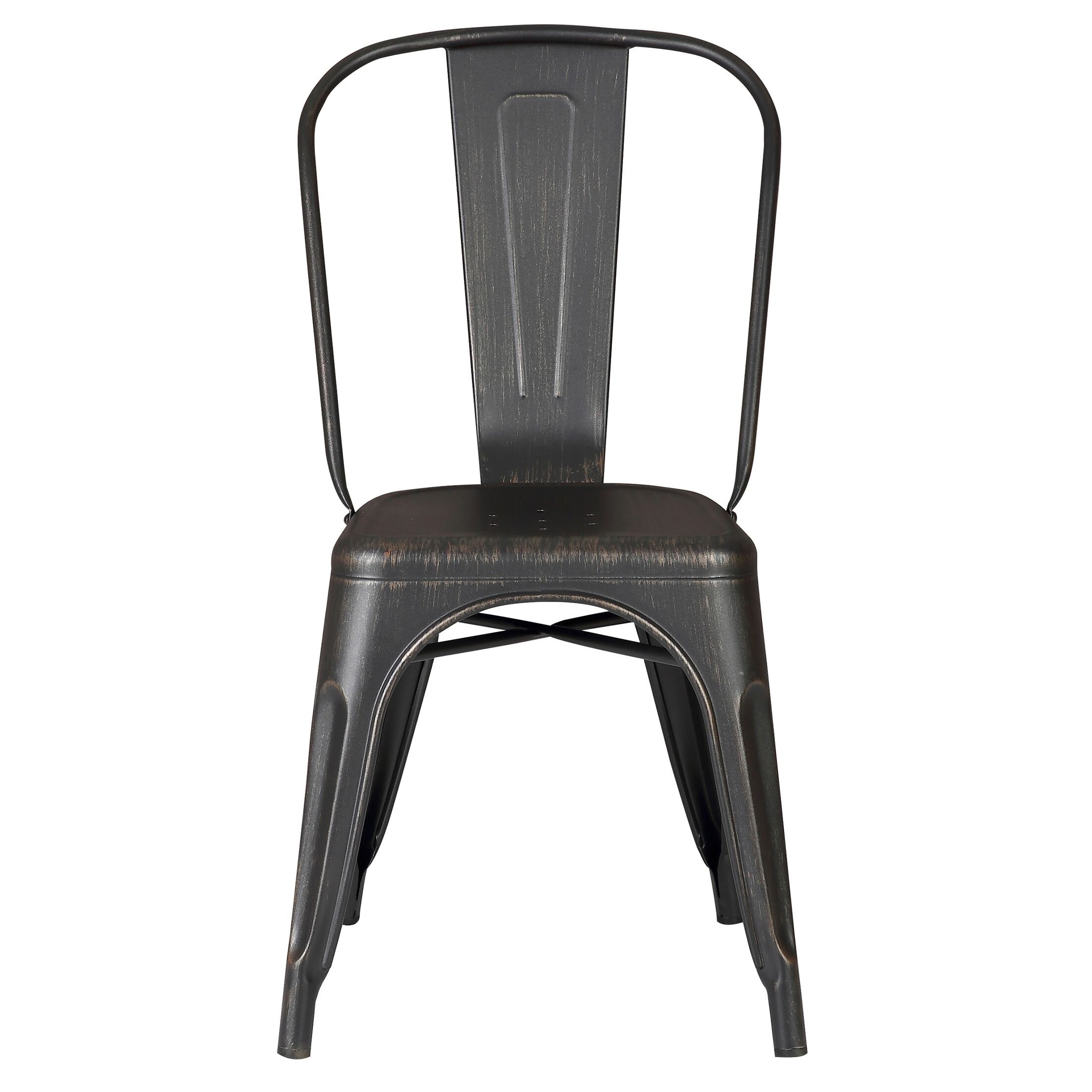Woking Armless Stackable Bistro Side Chair Finish: Distressed Black