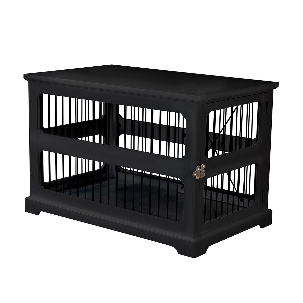 Archie Slide Aside Pet Crate Color: Black