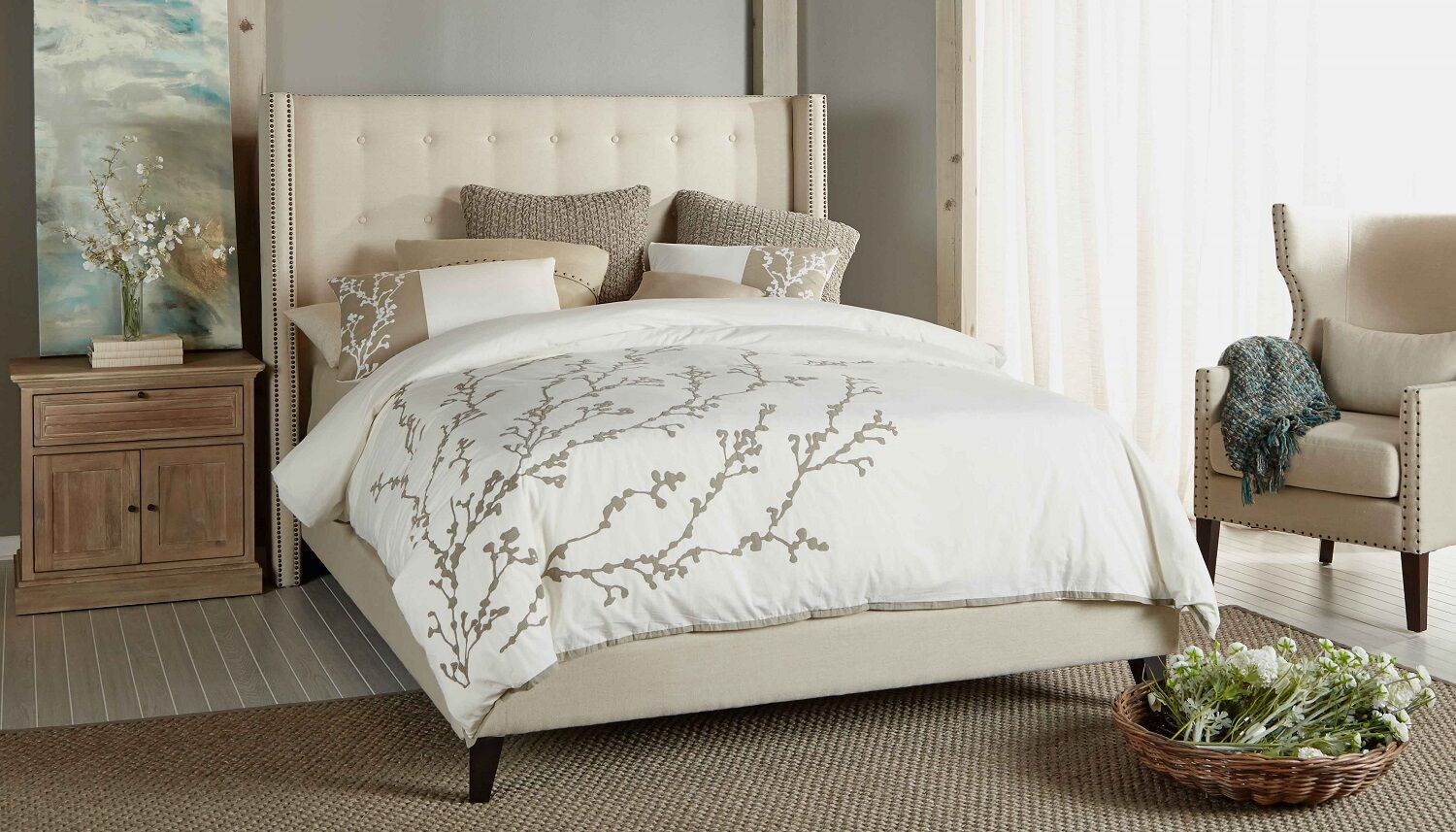 Heverlee Upholstered Platform Bed Color: Oatmeal, Size: Queen