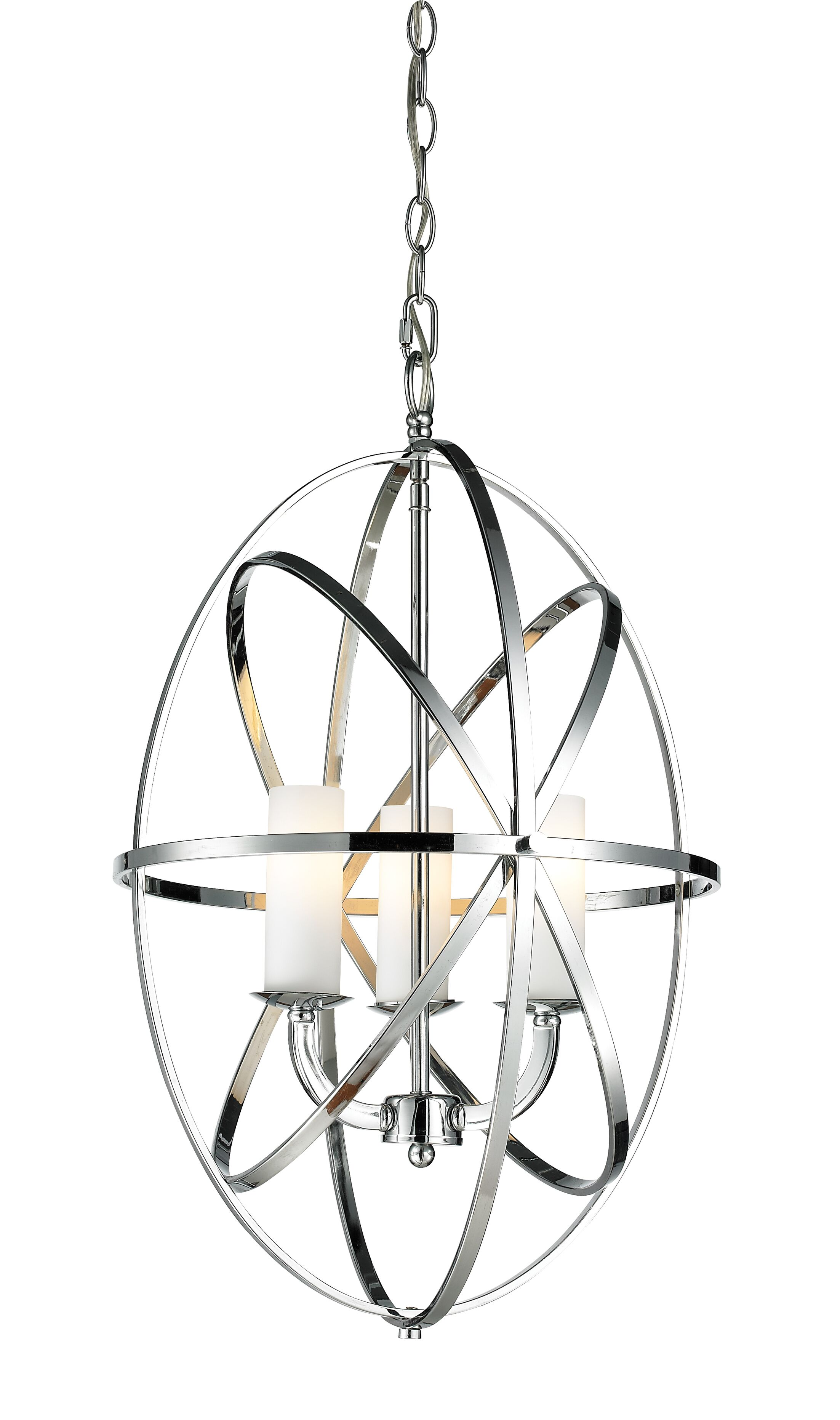 Fridley 3-Light Globe Chandelier Finish: Chrome