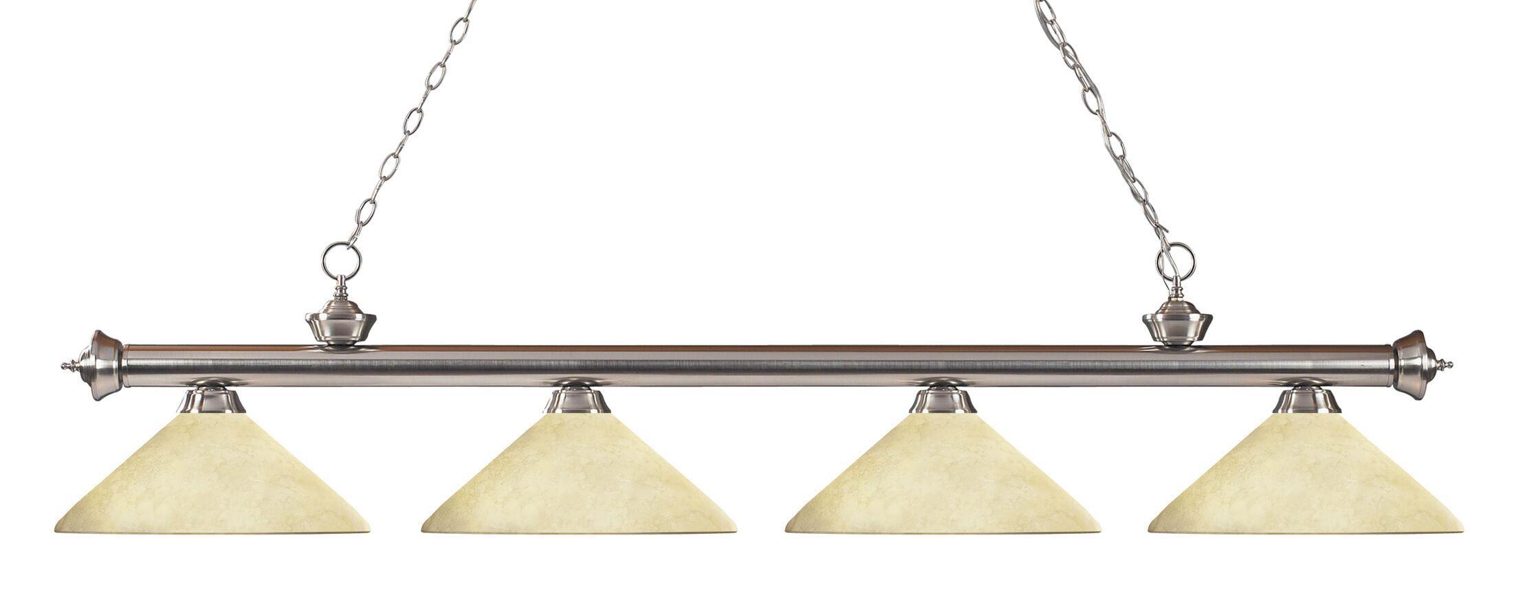 Zephyr 4-Light Cone Shade Kitchen Island Pendant Shade Color: Golden Mottle, Finish: Brushed Nickel