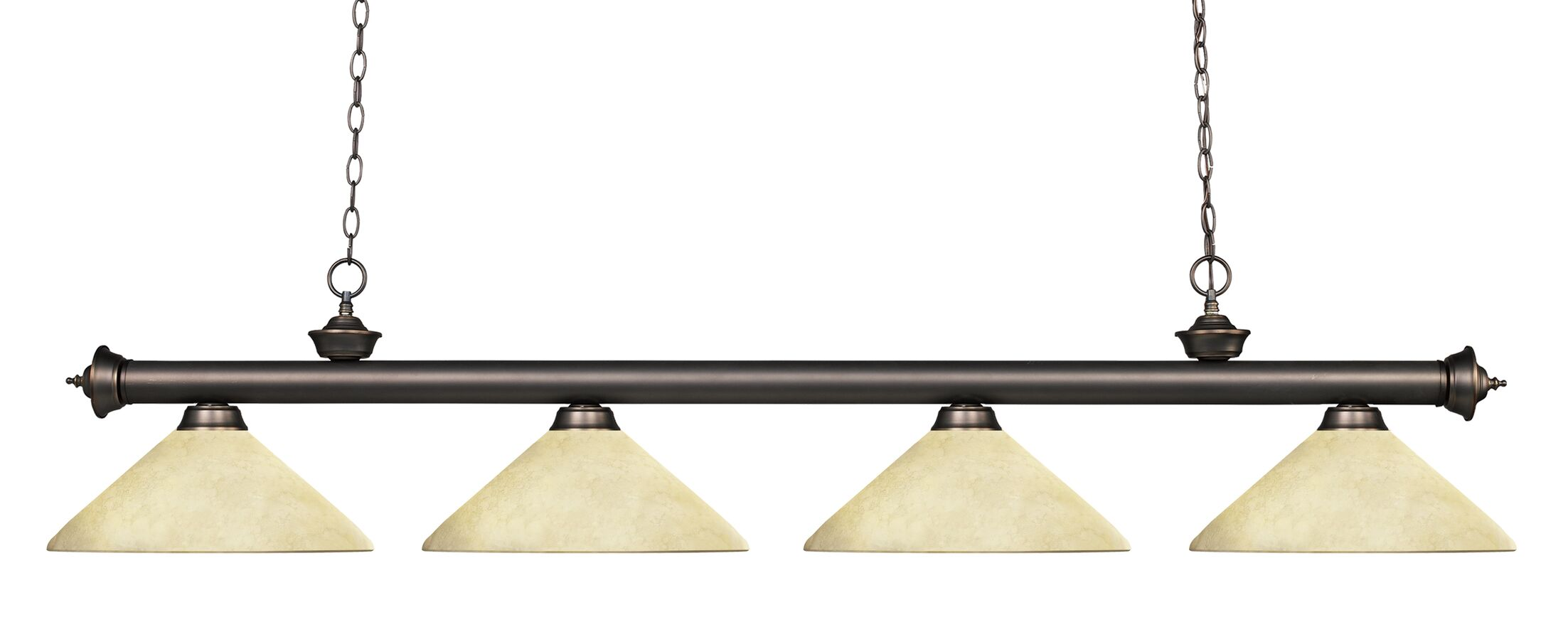 Zephyr 4-Light Cone Shade Kitchen Island Pendant Shade Color: Golden Mottle, Finish: Olde Bronze