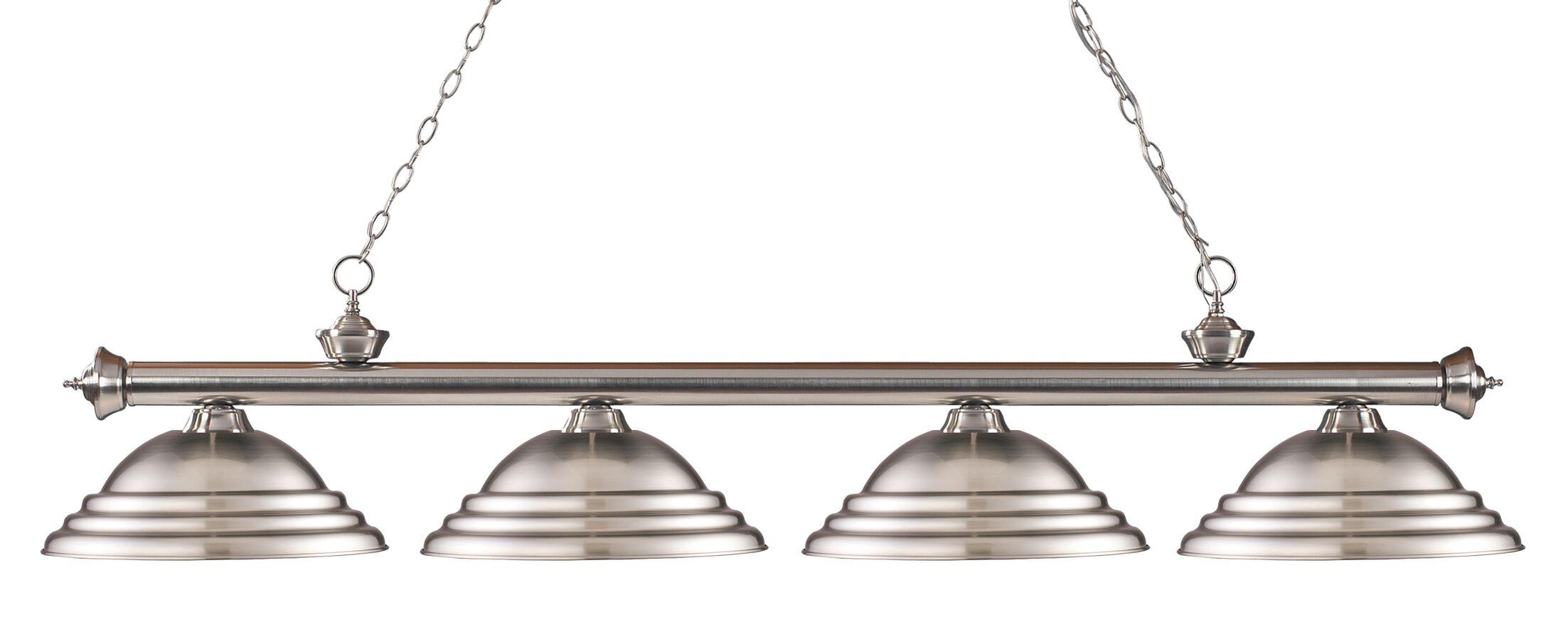 Zephyr 4-Light Metal Shade Kitchen Island Pendant Finish: Brushed Nickel, Shade Color: Brushed Nickel
