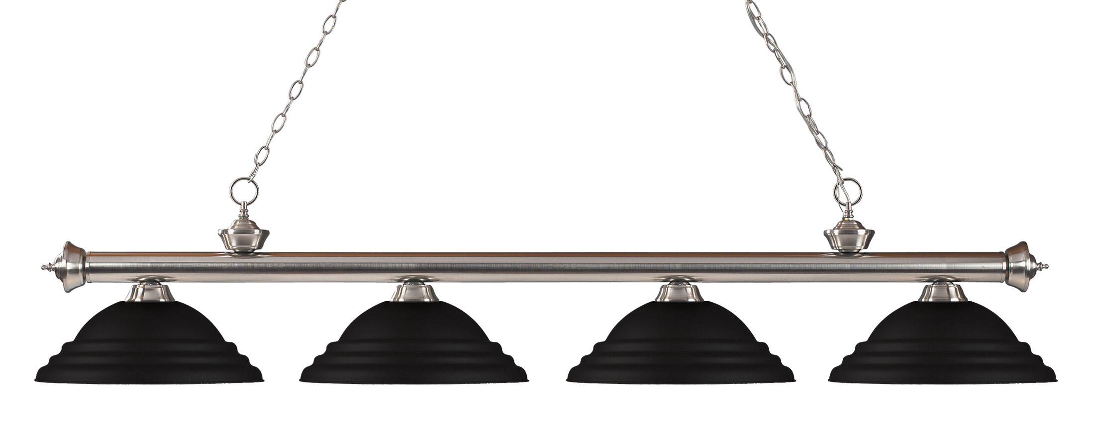 Zephyr 4-Light Metal Shade Kitchen Island Pendant Shade Color: Matte Black, Finish: Brushed Nickel