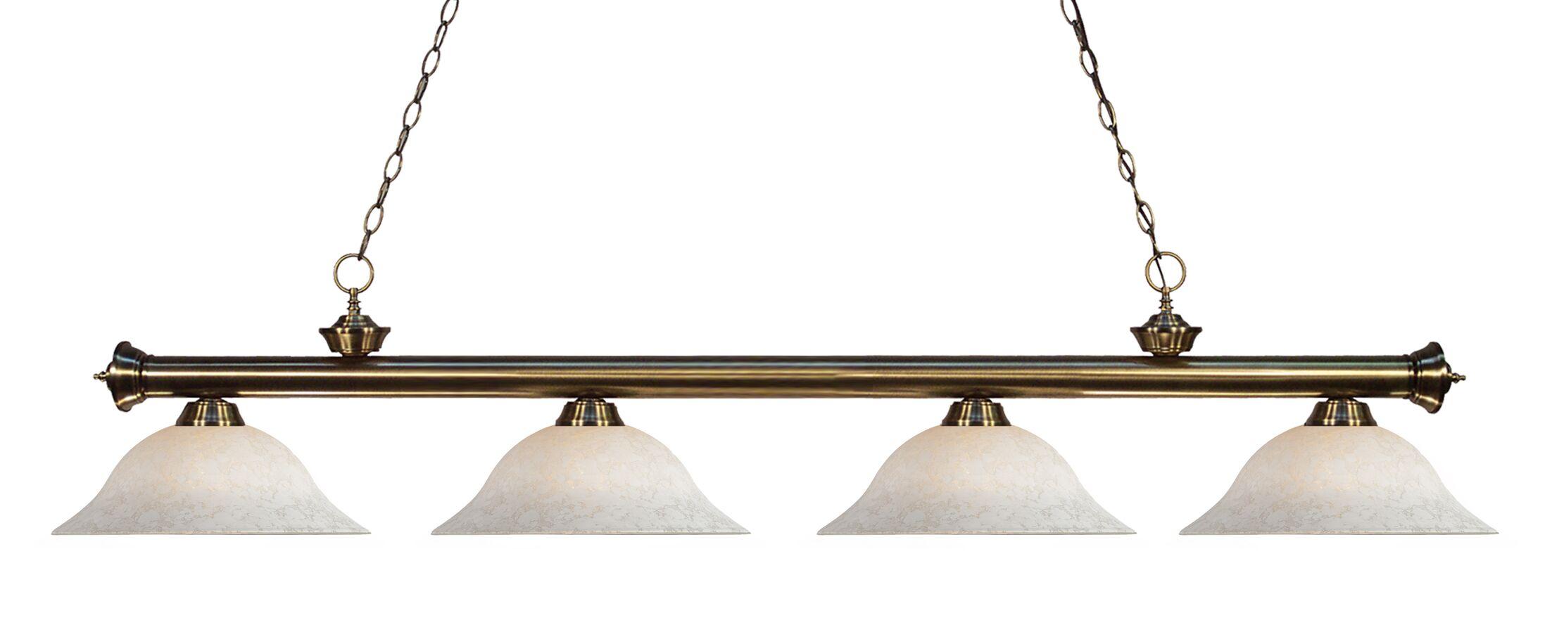 Zephyr 4-Light Steel Kitchen Island Pendant Finish: Antique Brass, Shade Color: White Mottle