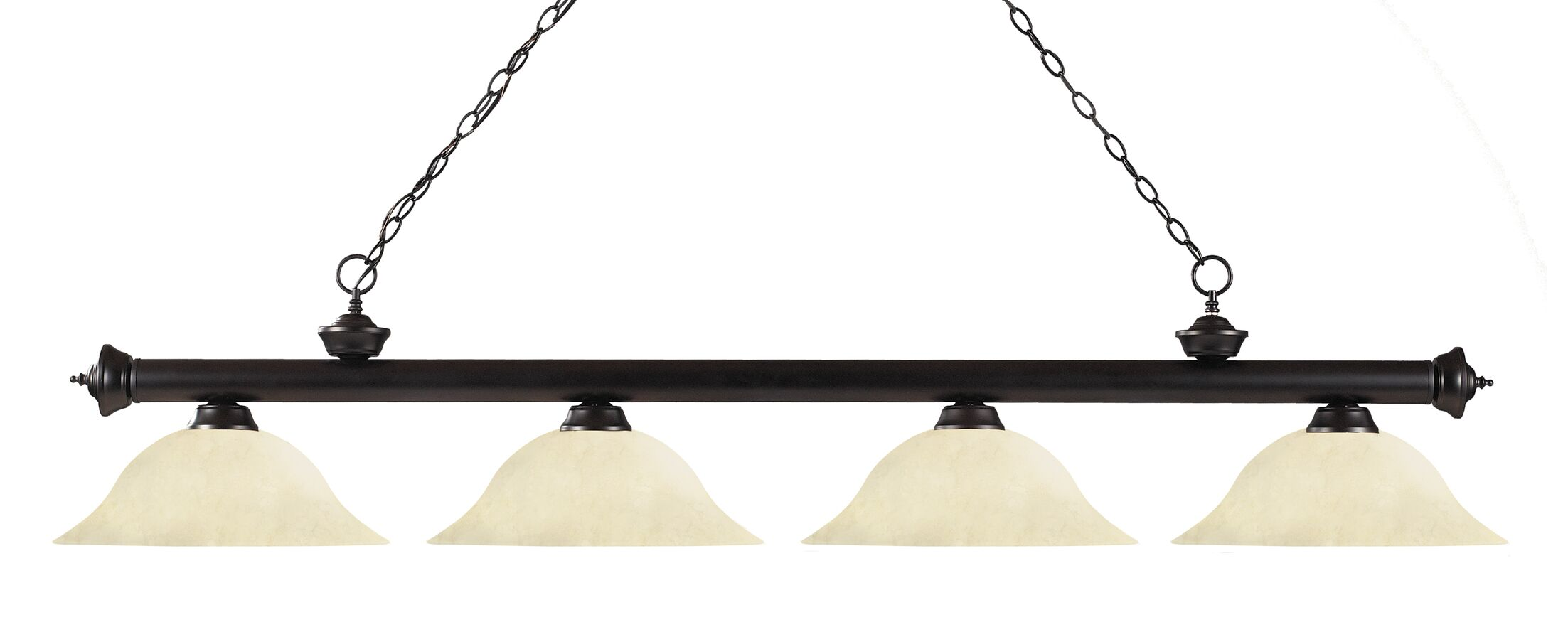 Zephyr 4-Light Steel Kitchen Island Pendant Shade Color: Golden Mottle, Finish: Bronze