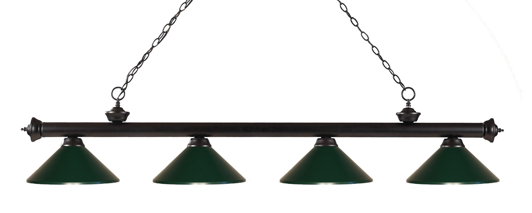 Zephyr 4-Light Kitchen Island Pendant Shade Color: Dark Green, Finish: Bronze