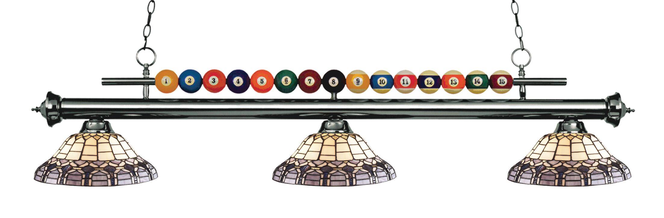 Chapa 3-Light Billiard Light Finish: Gun Metal
