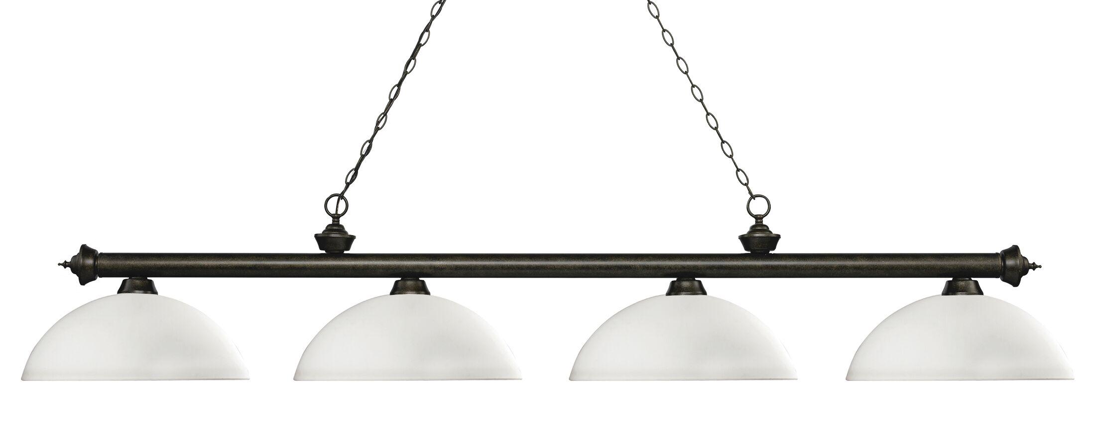 Zephyr 4-Light Bowl Shade Billiard Light Shade Color: Matte Opal, Finish: Golden Bronze