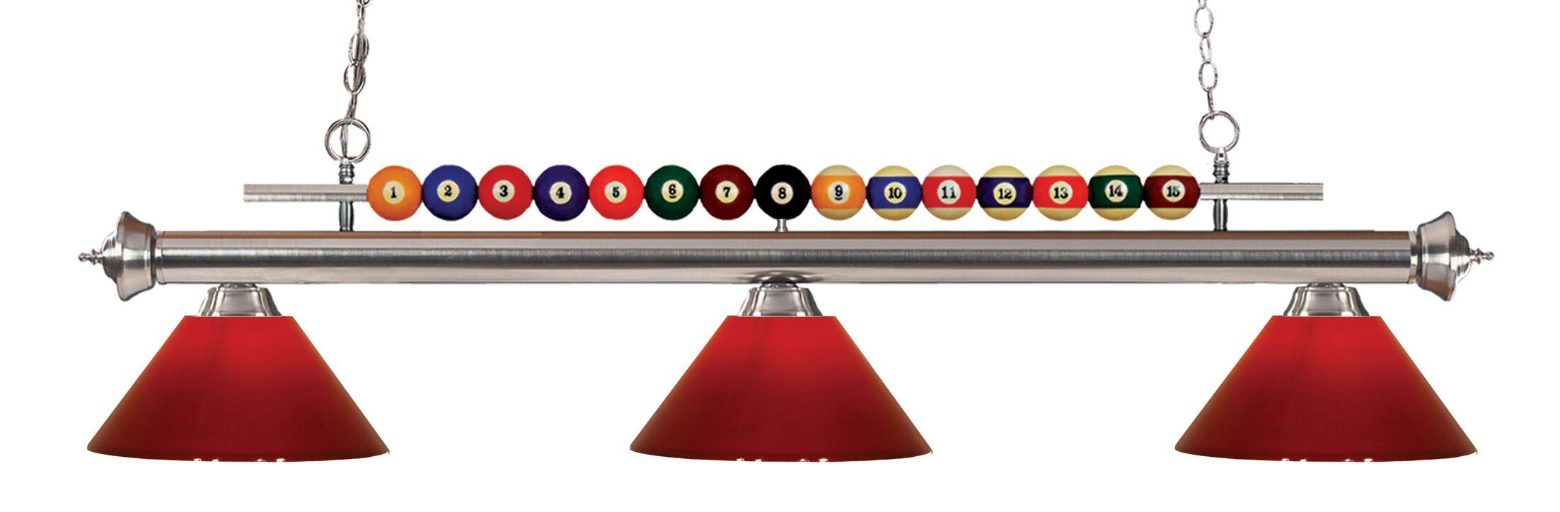 Chapa 3-Light Billiard Light Finish: Brushed Nickel, Shade Color: Red