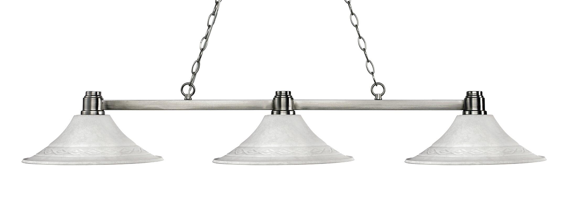 Centeno 3-Light Billiard Light Finish: Brushed Nickel, Shade Color: Fluted White Mottle