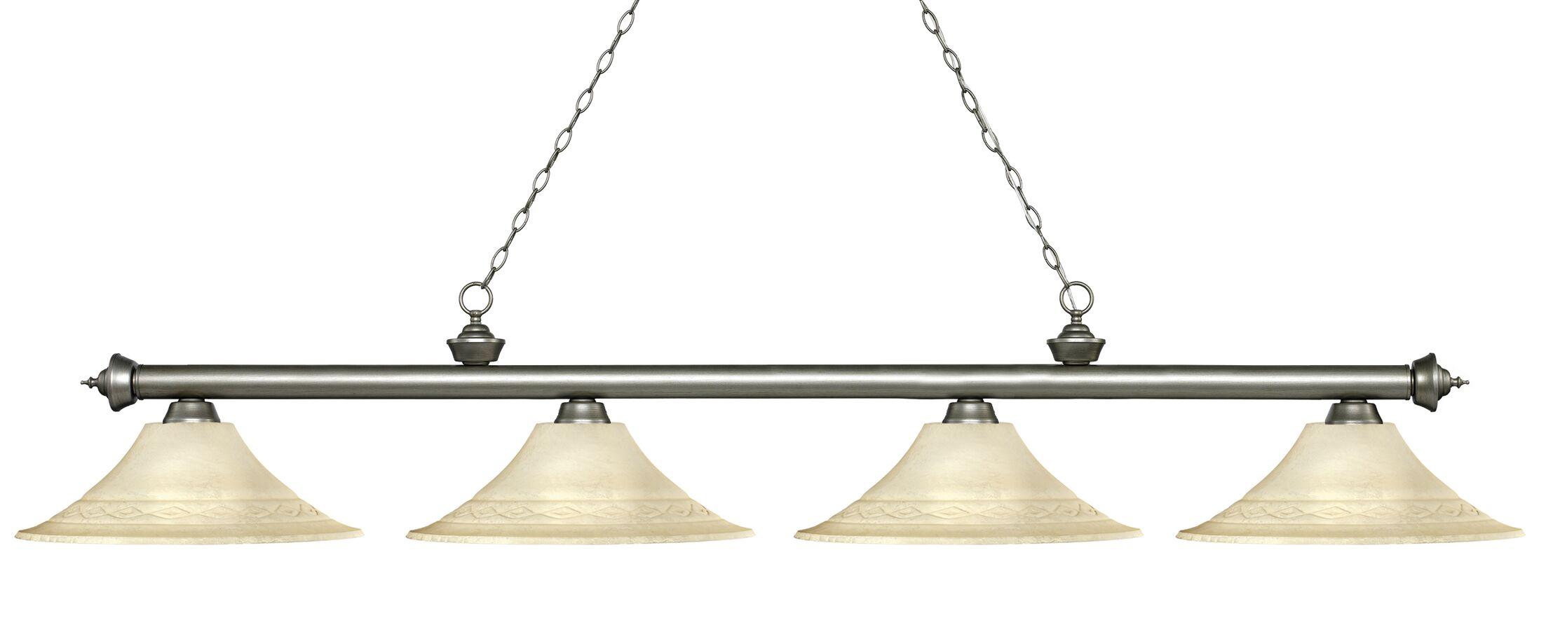 Zephyr 4-Light Bell Shade Billiard Light Finish: Antique Silver, Shade Color: Golden