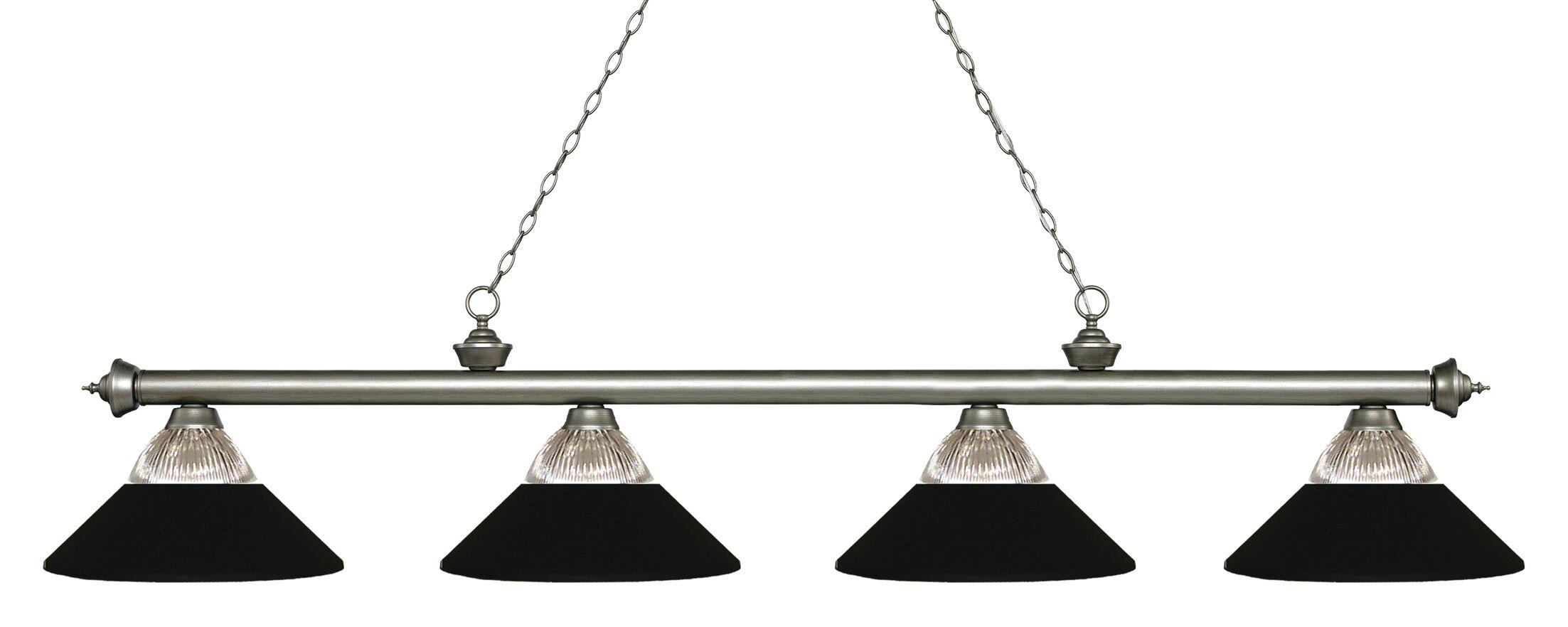 Chapple 4-Light Billiard Light Shade Color: Matte Black, Finish: Antique Silver