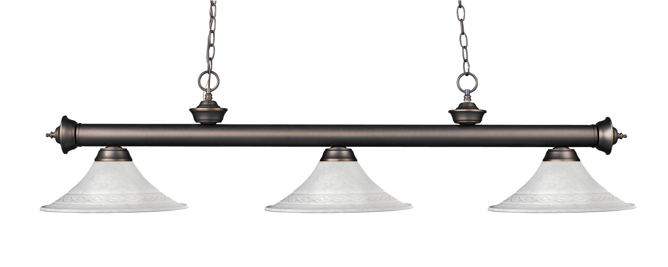 Zephyr 3-Light Bell Glass Billiard Light Shade Color: White Mottle, Finish: Olde Bronze