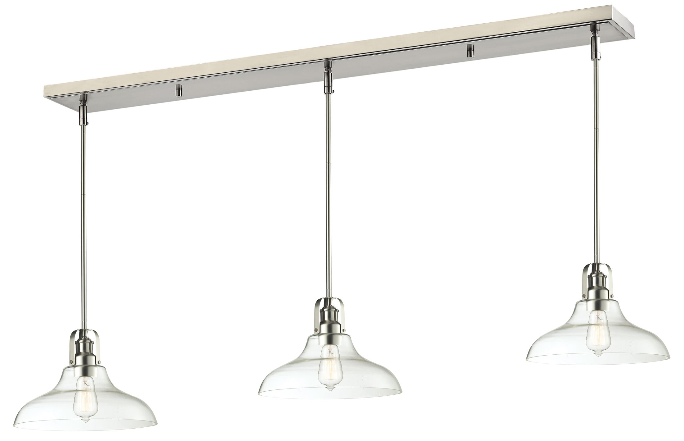 Lindley 3-Light Clear Glass Shade Kitchen Island Pendant Finish: Brushed Nickel