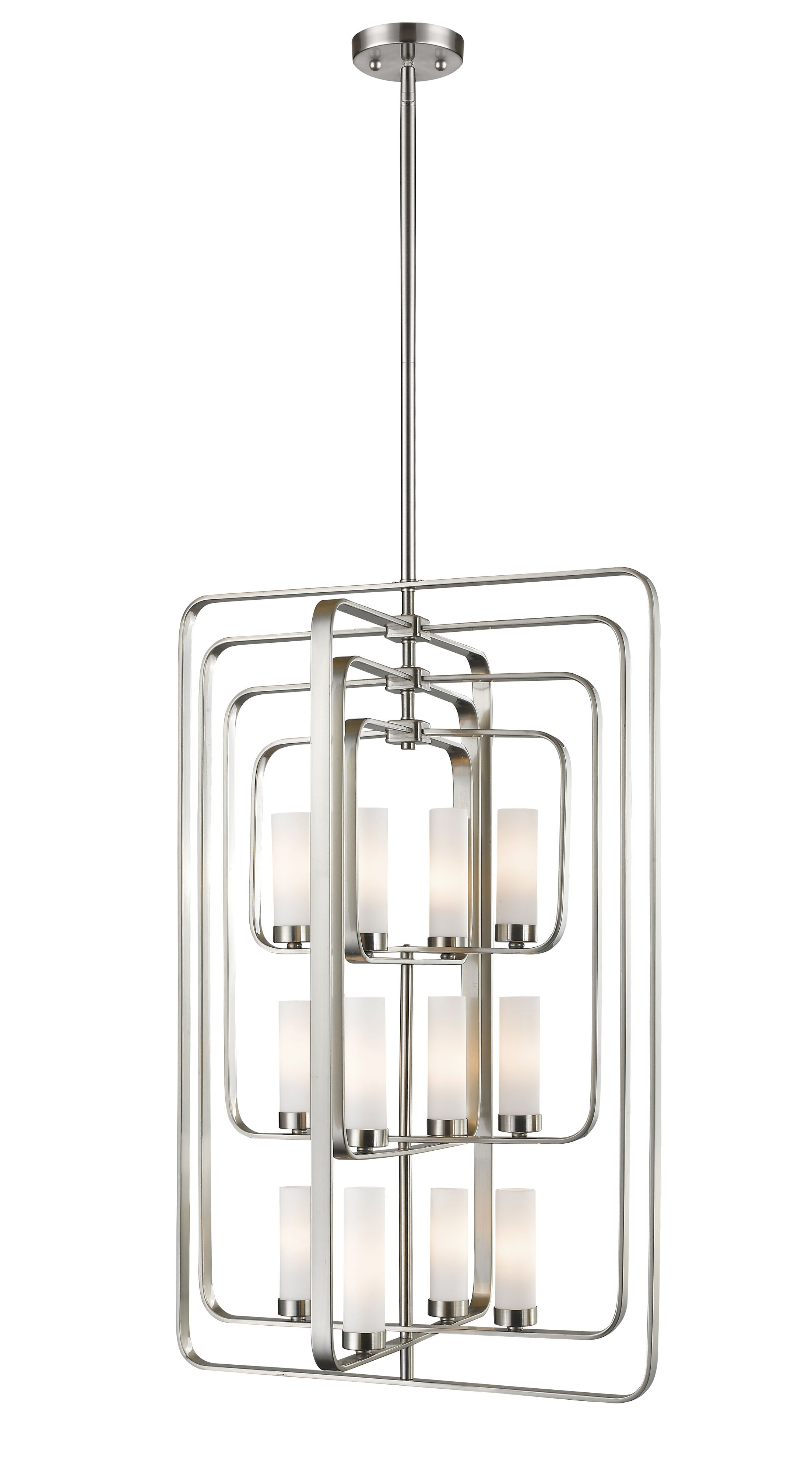 Kewdale 12-Light Square/Rectangle Chandelier Finish: Brushed Nickel