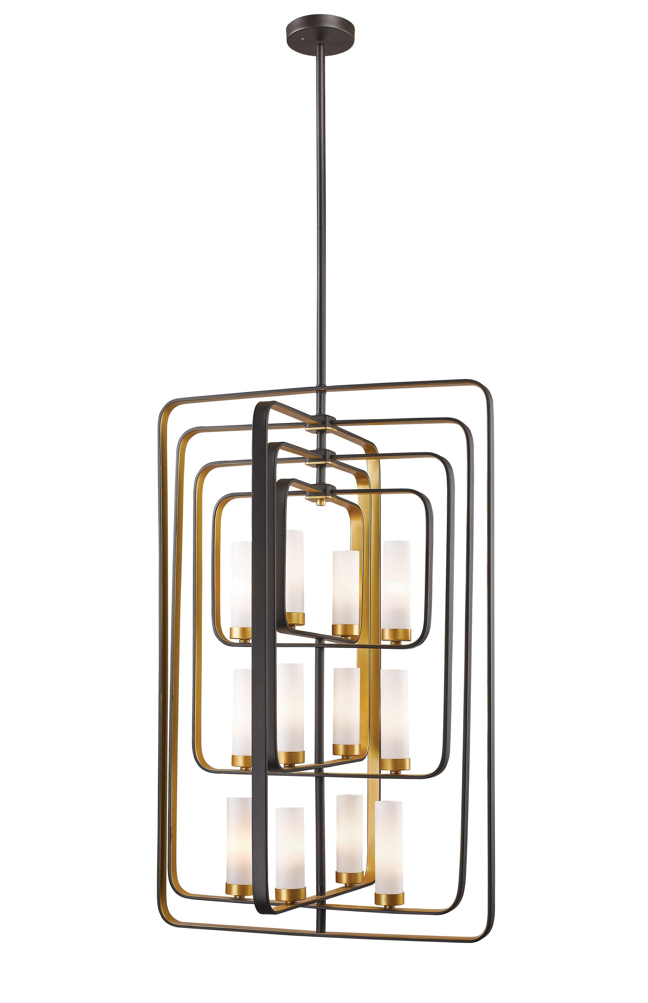 Kewdale 12-Light Square/Rectangle Chandelier Finish: Bronze Gold