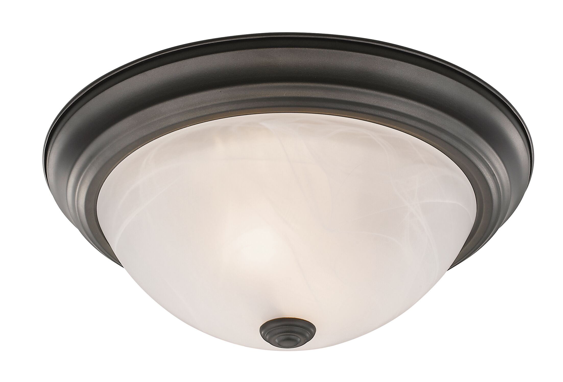 Wellersburg 2-Light Flush Mount Finish: Bronze, Shade Color: Frosted Glass, Size: 5.25