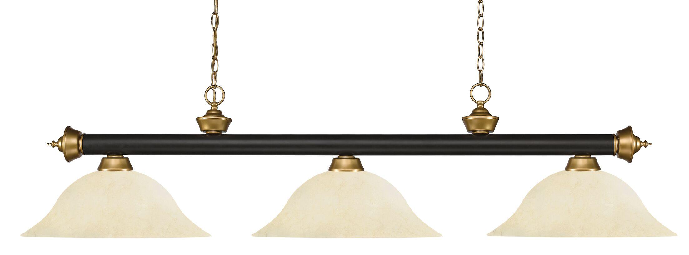 Zephyr 3-Light Bell Glass Shade Pool Table Light