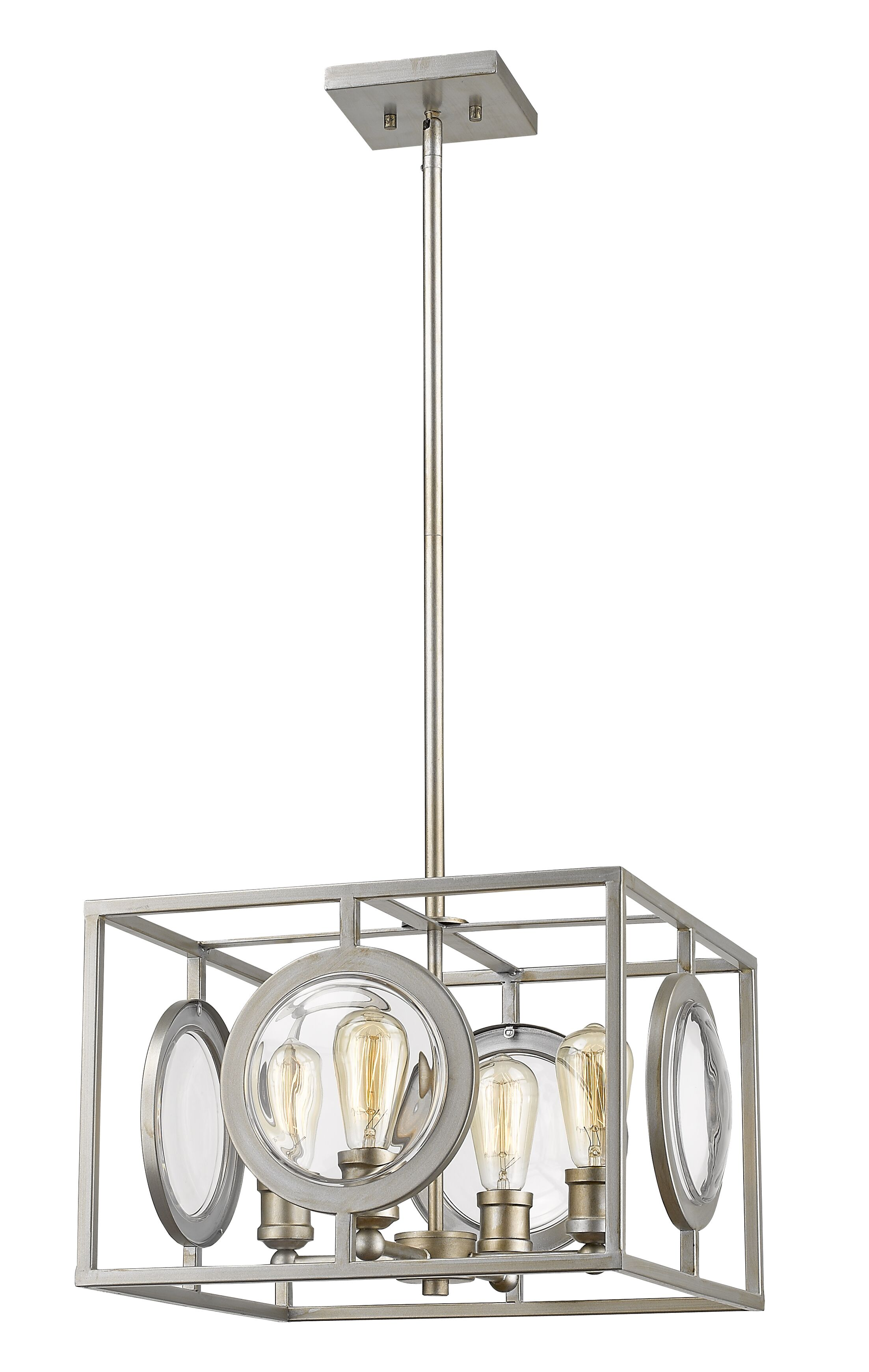 Silvey 4-Light Square/Rectangle Chandelier Finish: Antique Silver, Size: 11