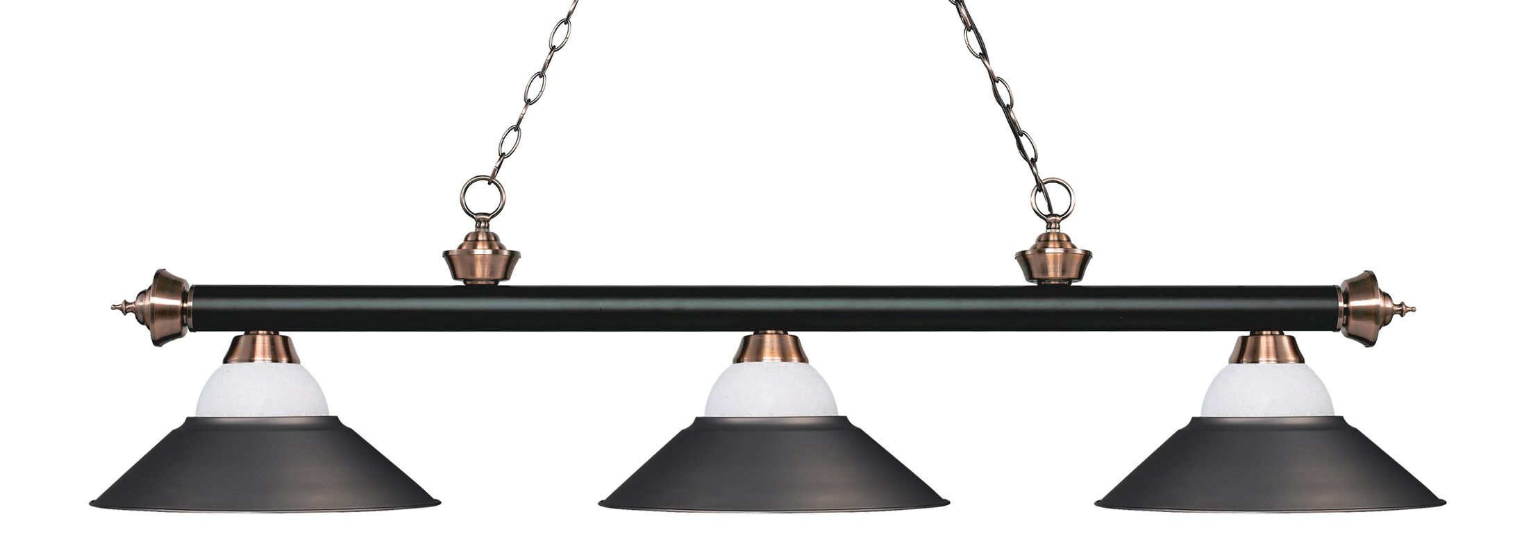 Zephyr Contemporary 3-Light Pool Table Light Base Finish: Matte Black/Antique Copper