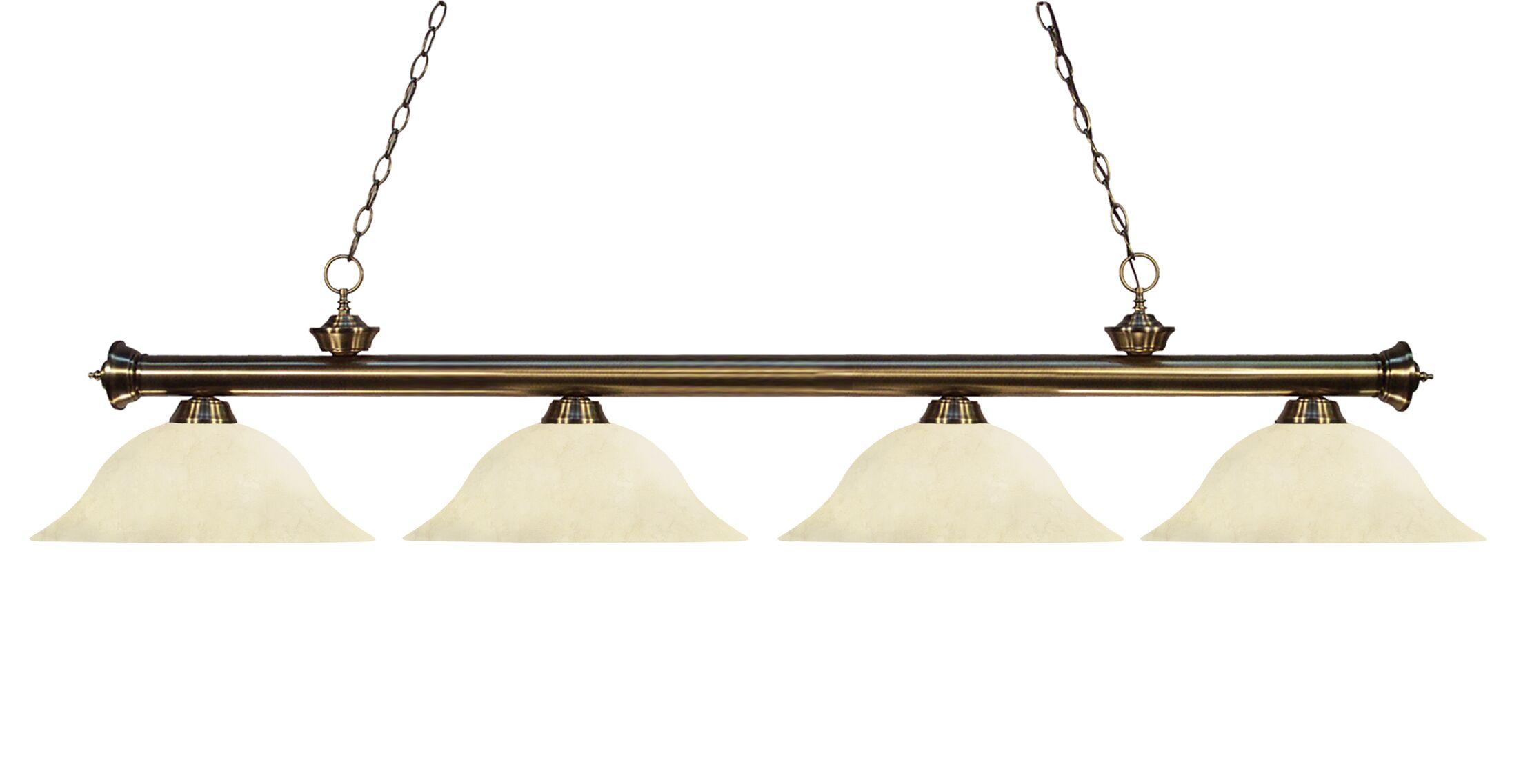 Zephyr 4-Light Incandescent Billiard Light with Hanging Chain