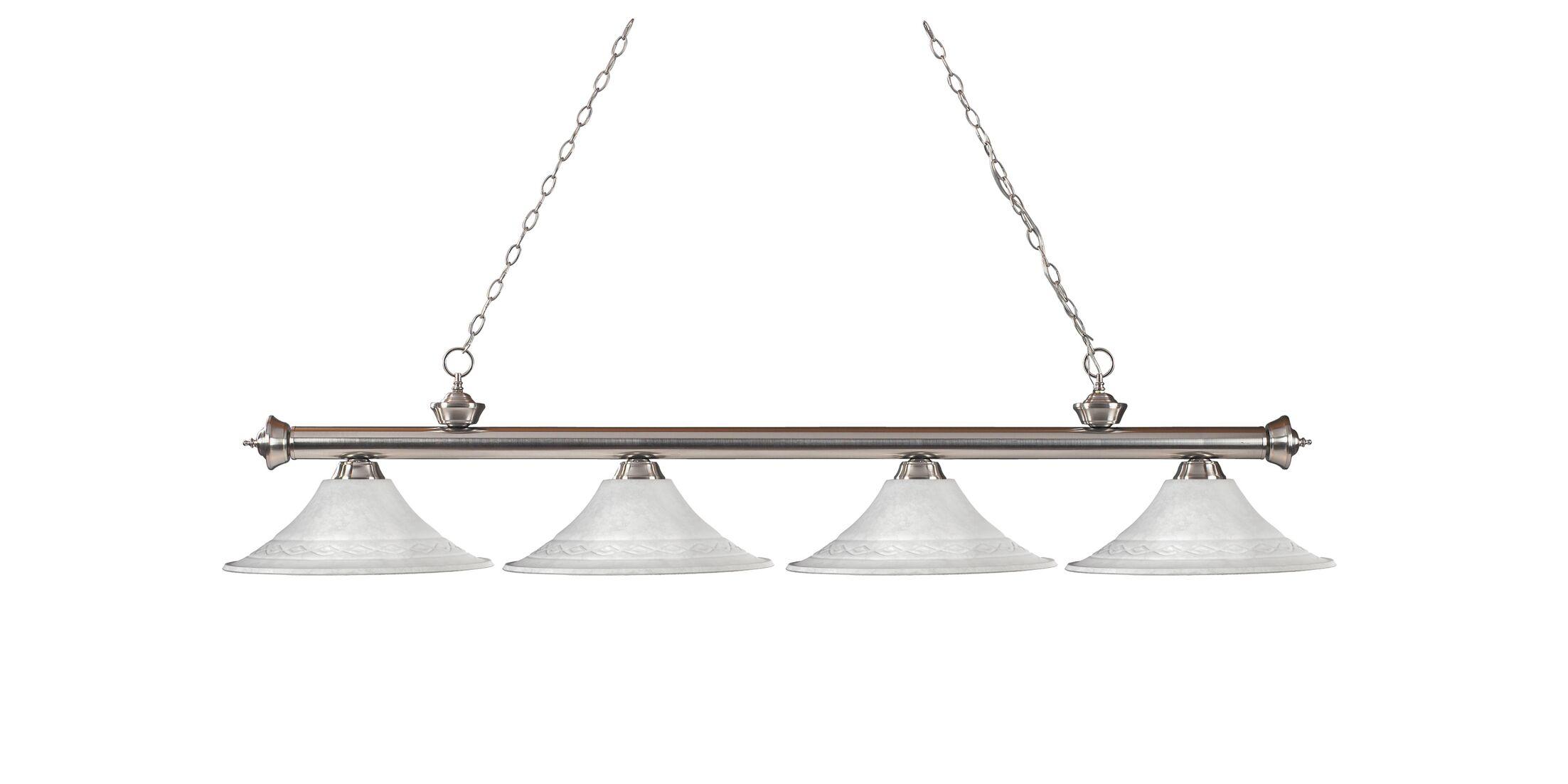 Zephyr 4-Light Cone Glass Shade Billiard Light