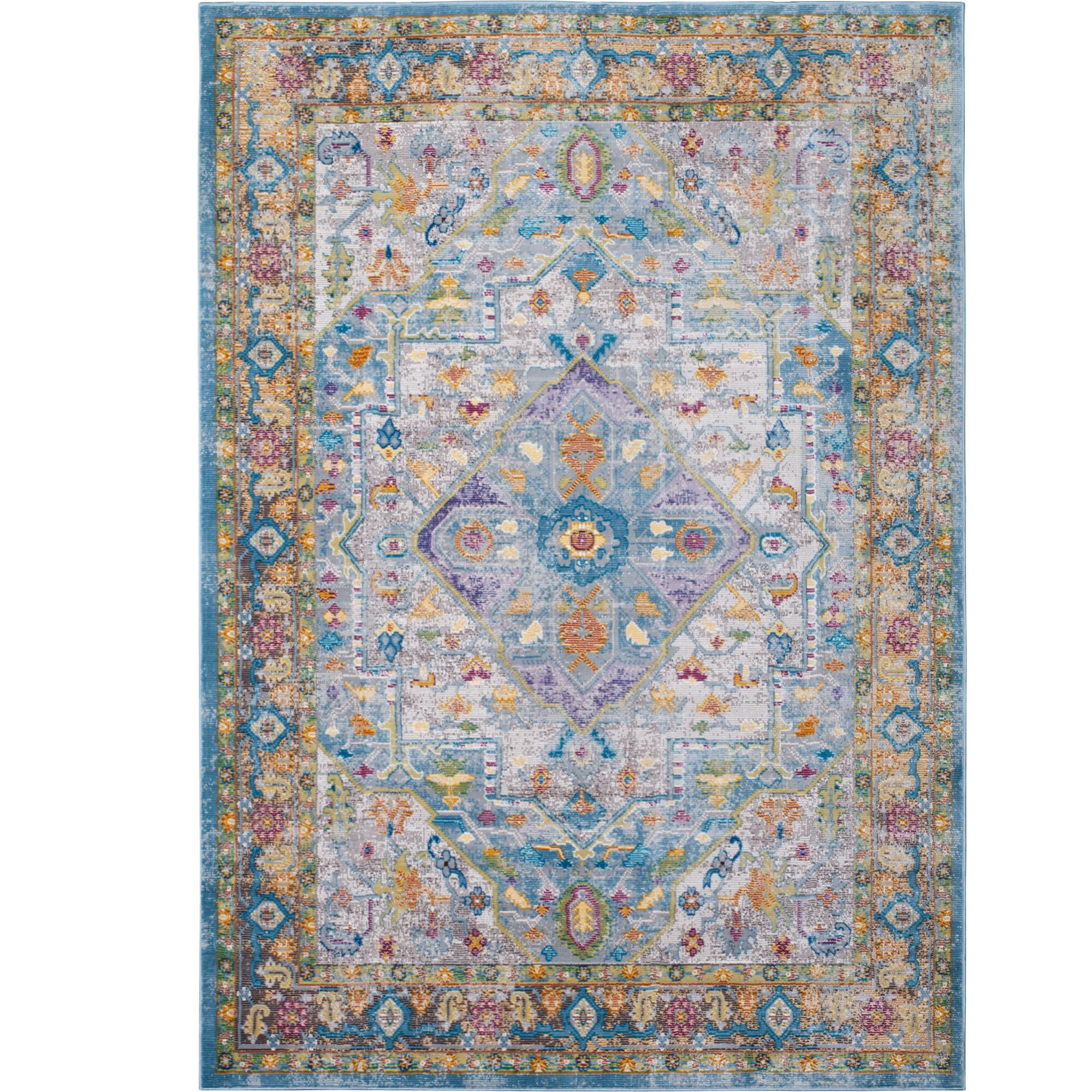 Parlin Medallion Gray/Yellow Area Rug Rug Size: Rectangle 5'3