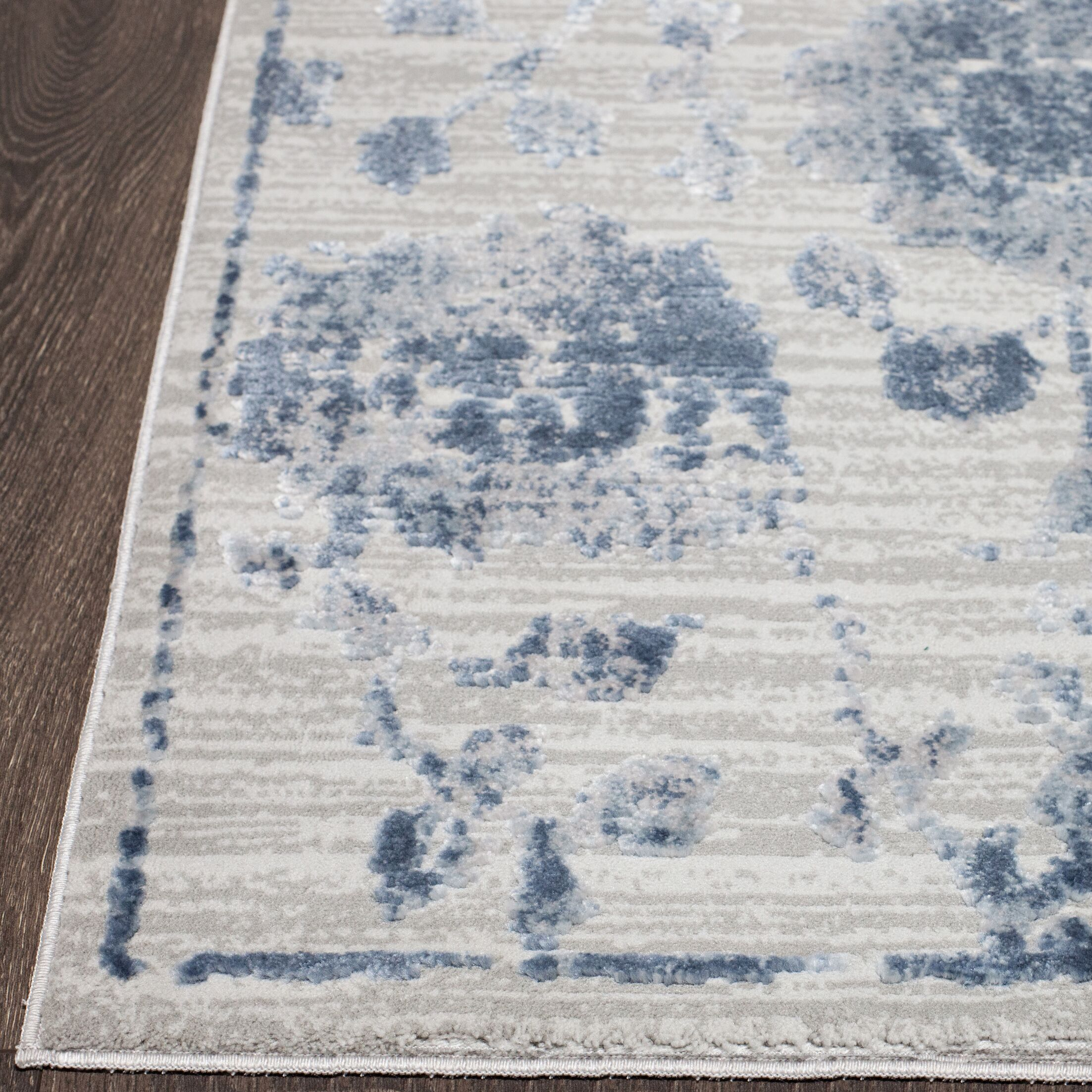 Kenmare Gray/Blue Area Rug Rug Size: Rectangle 5'3