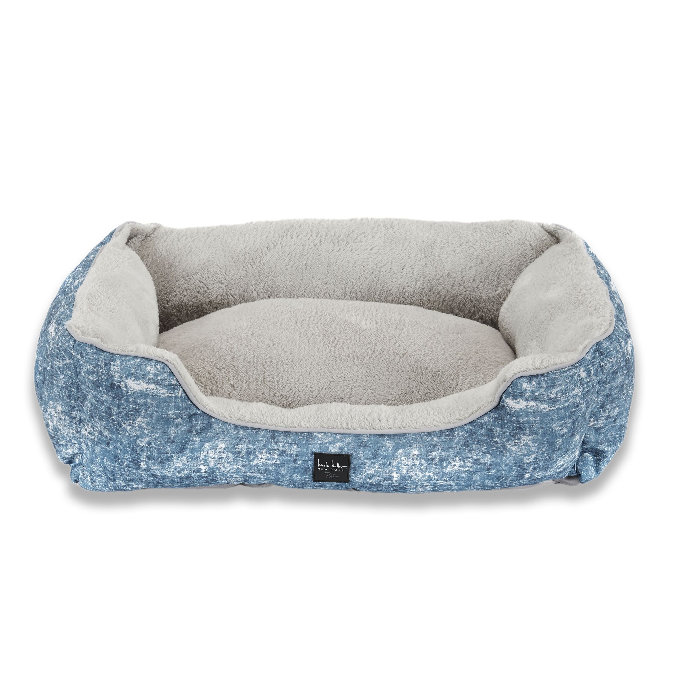 Modern Marbled Bolster Dog Bed Color: Blue